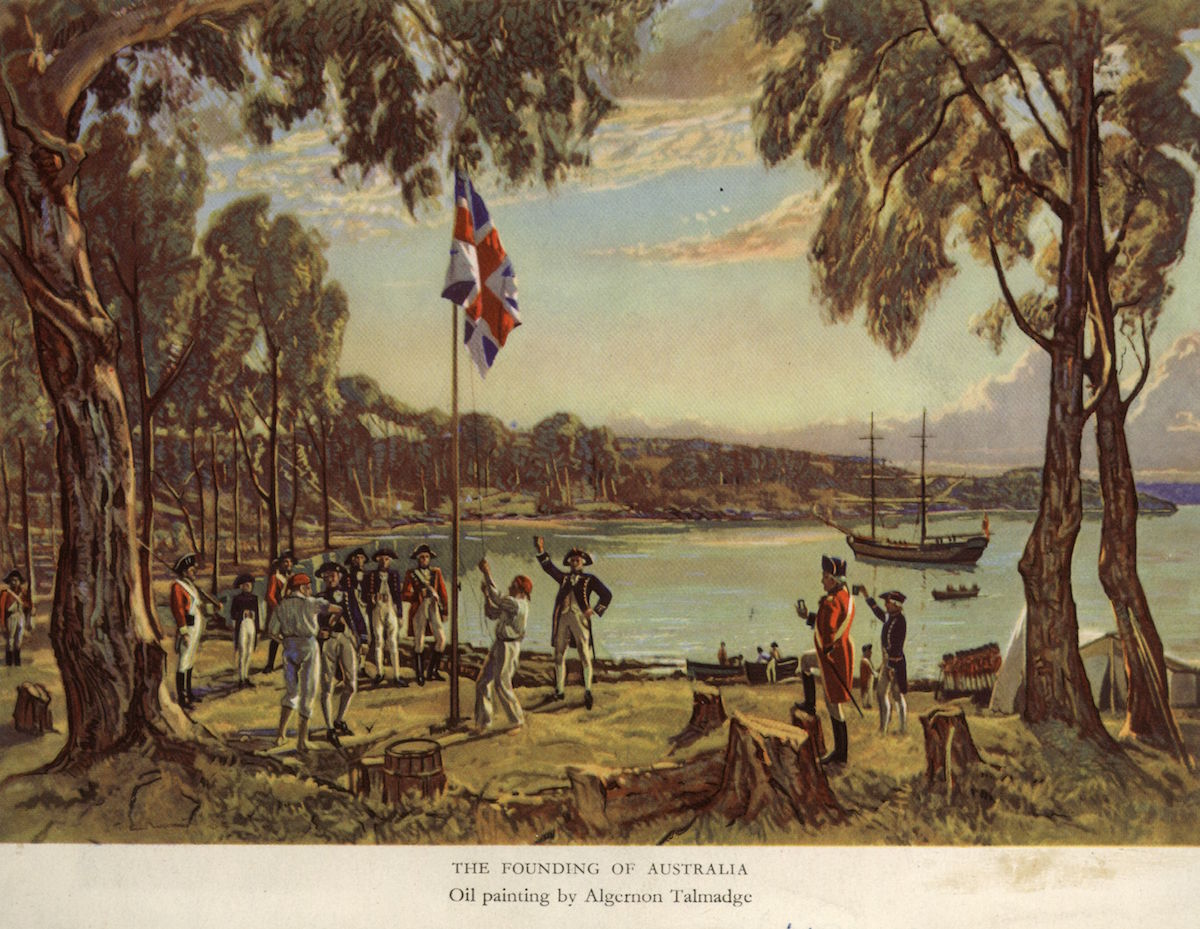 Captain Arthur Phillip (1738 - 1814) of the Royal Navy raises the flag to declare British possession of New South Wales at Sydney Cove, Australia, Jan. 26, 1788.