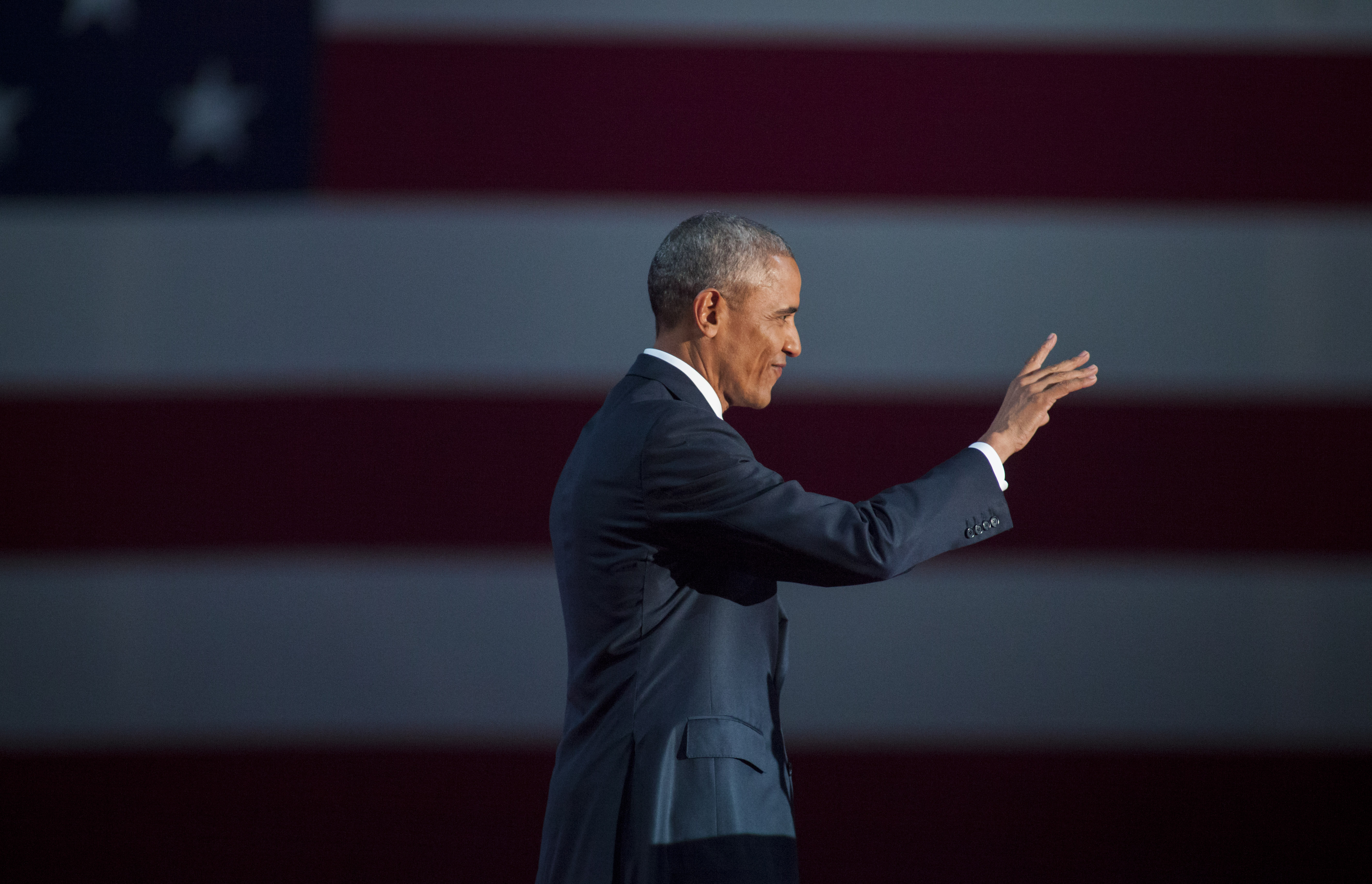 U.S. President Barack Obama walks on stage to deliver his farewell speech at McCormick Place on January 10, 2017 in Chicago, Illinois