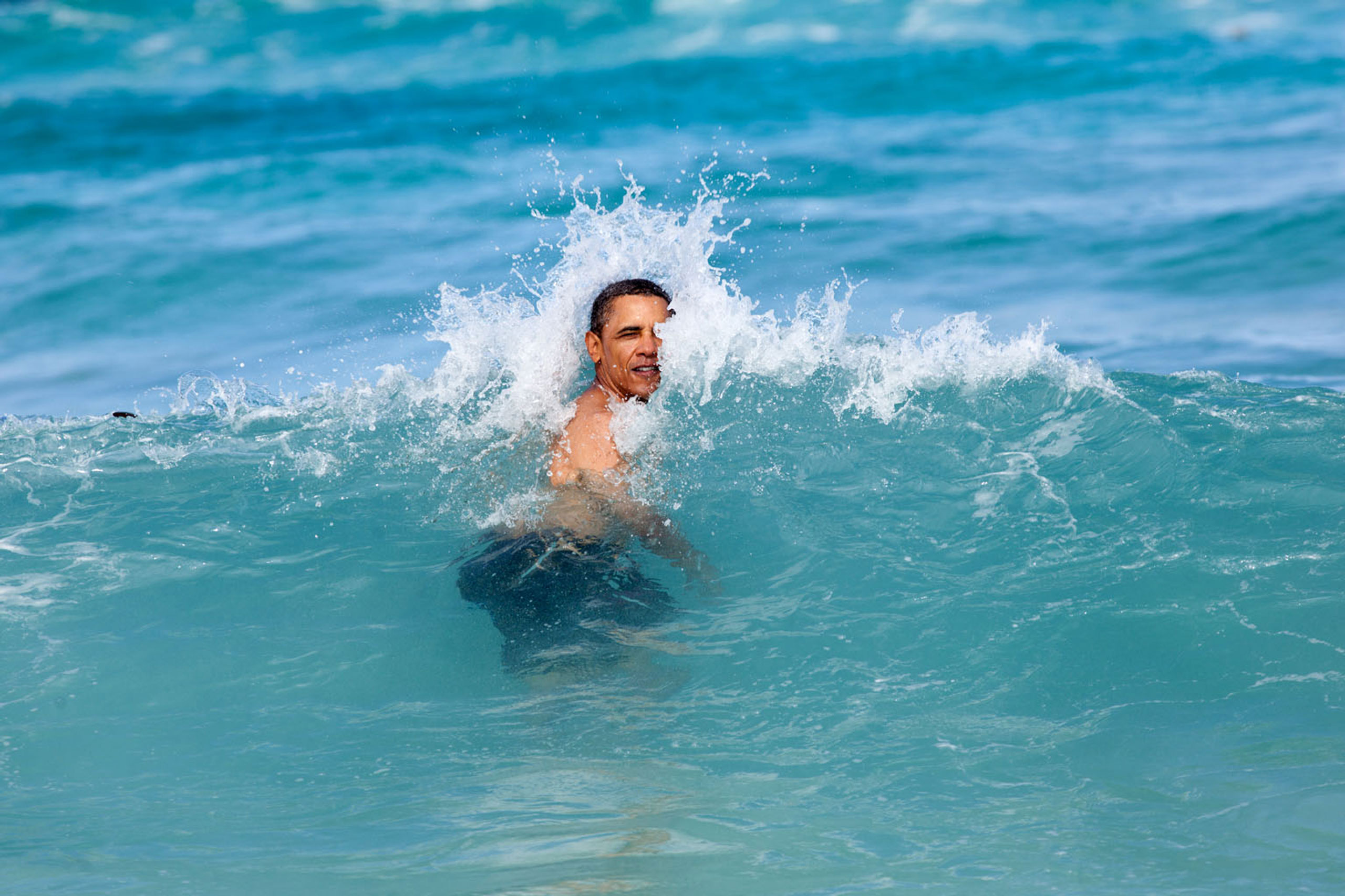 A nice way to celebrate the New Year for the President was to jump in the ocean in his native state of Hawaii. He was on his annual Christmas vacation with family and friends, and went swimming at Pyramid Rock Beach in Kaneohe Bay,  Jan. 1, 2012.