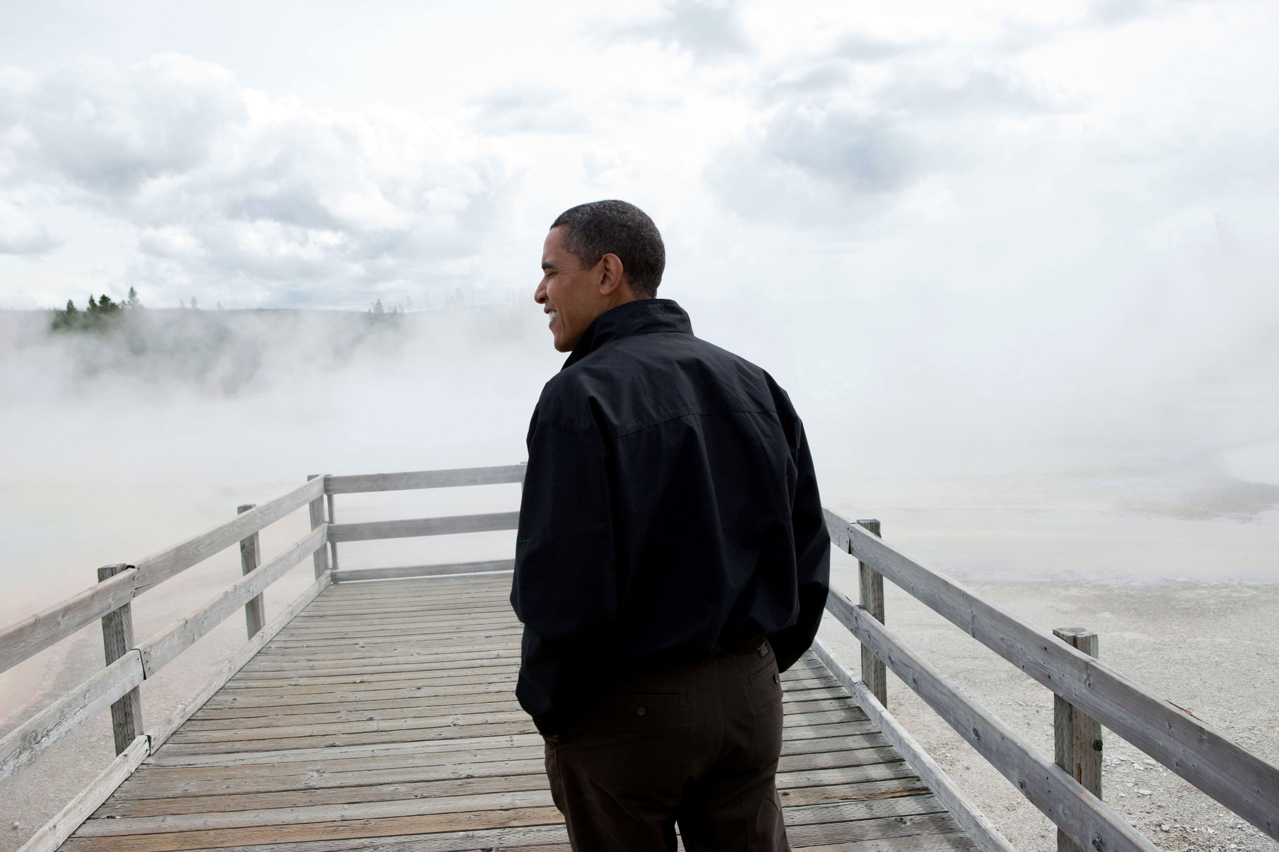 President Barack Obama visits Sunset Lake in Yellowstone National Park, Aug.15, 2009.