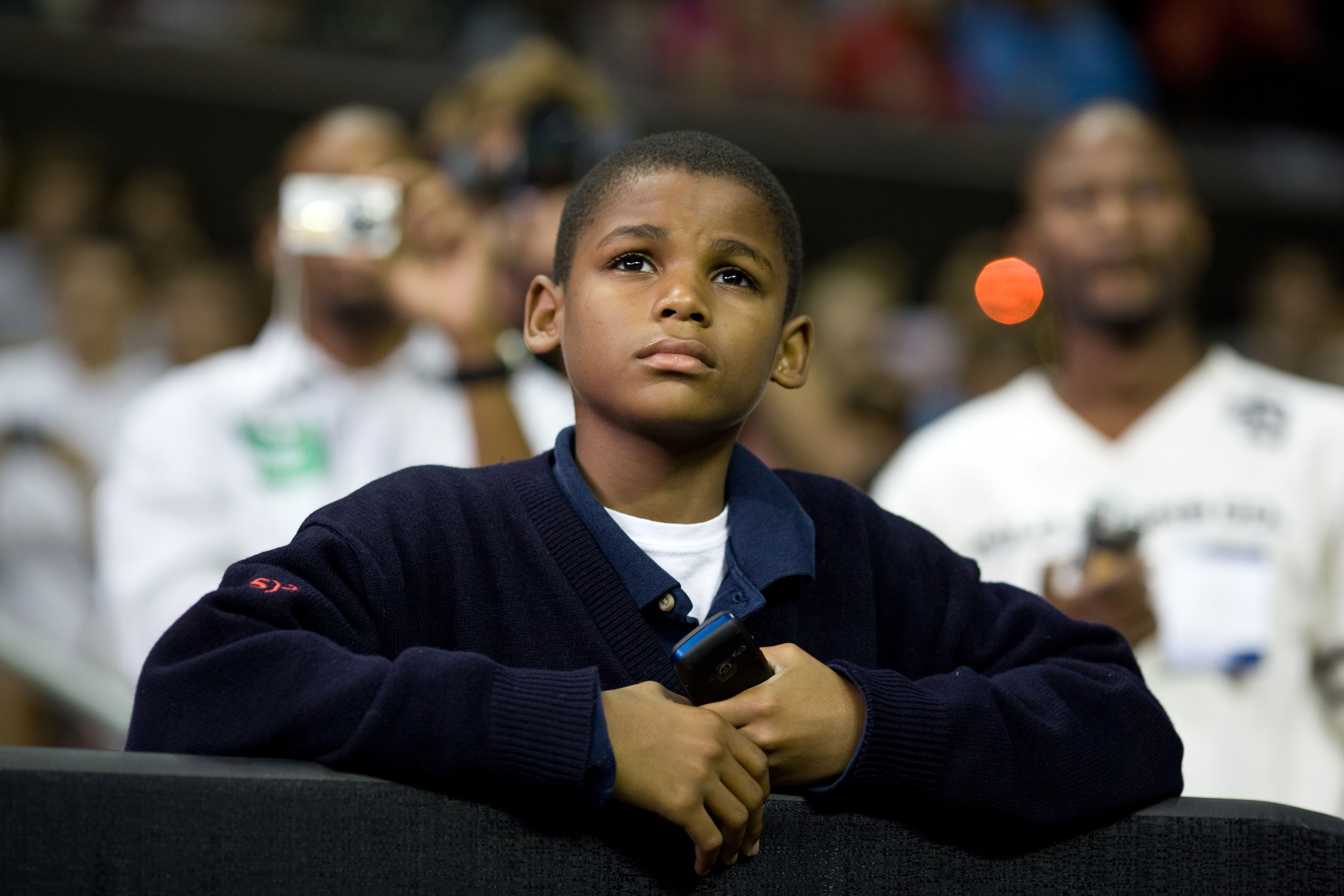 """""""I was struck by the young boy's look as he watched the President speak at a health care reform rally at the University of Maryland in College Park,""""Sept. 17, 2009."""