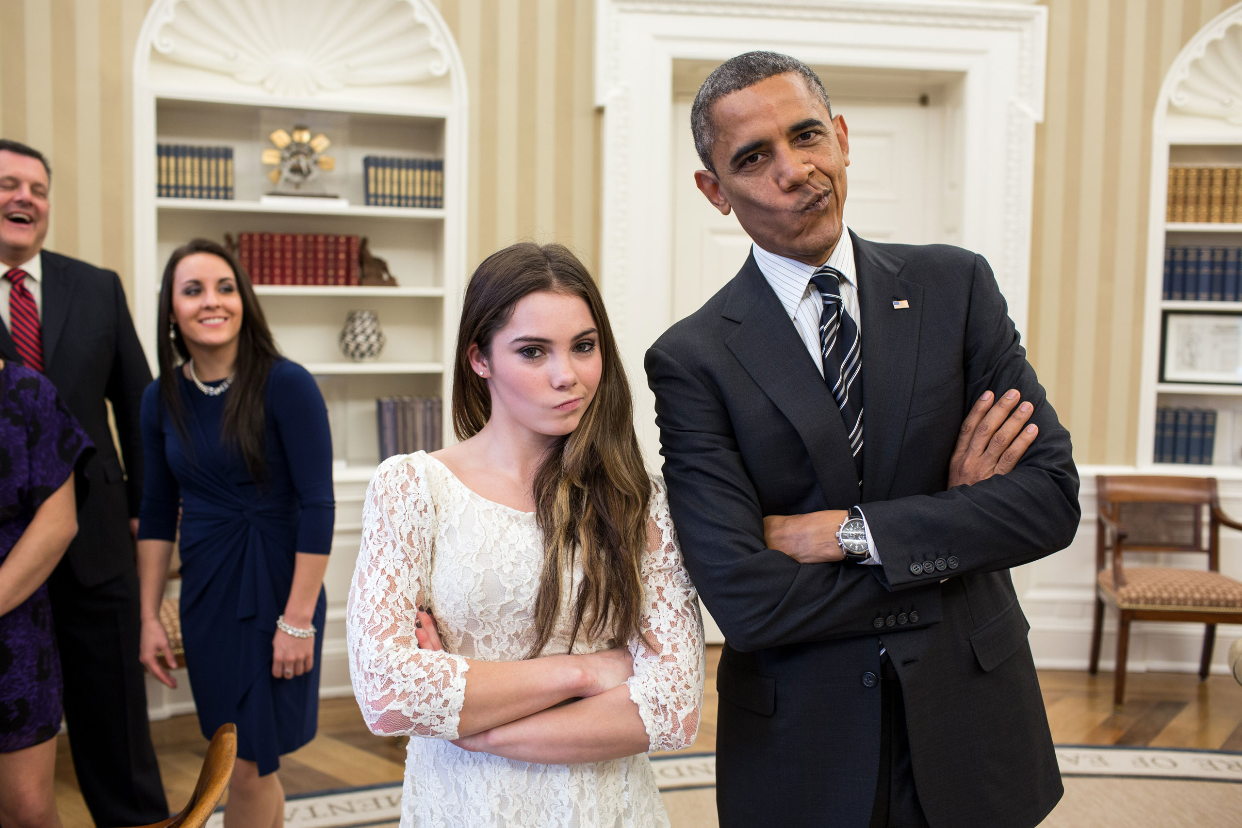 The President had just met with the U.S. Olympics gymnastics team, who because of a previous commitment had missed the ceremony earlier in the year with the entire U.S. Olympic team. The President suggested to McKayla Maroney that they recreate her 'not impressed' photograph before they departed,  Nov. 15, 2012.