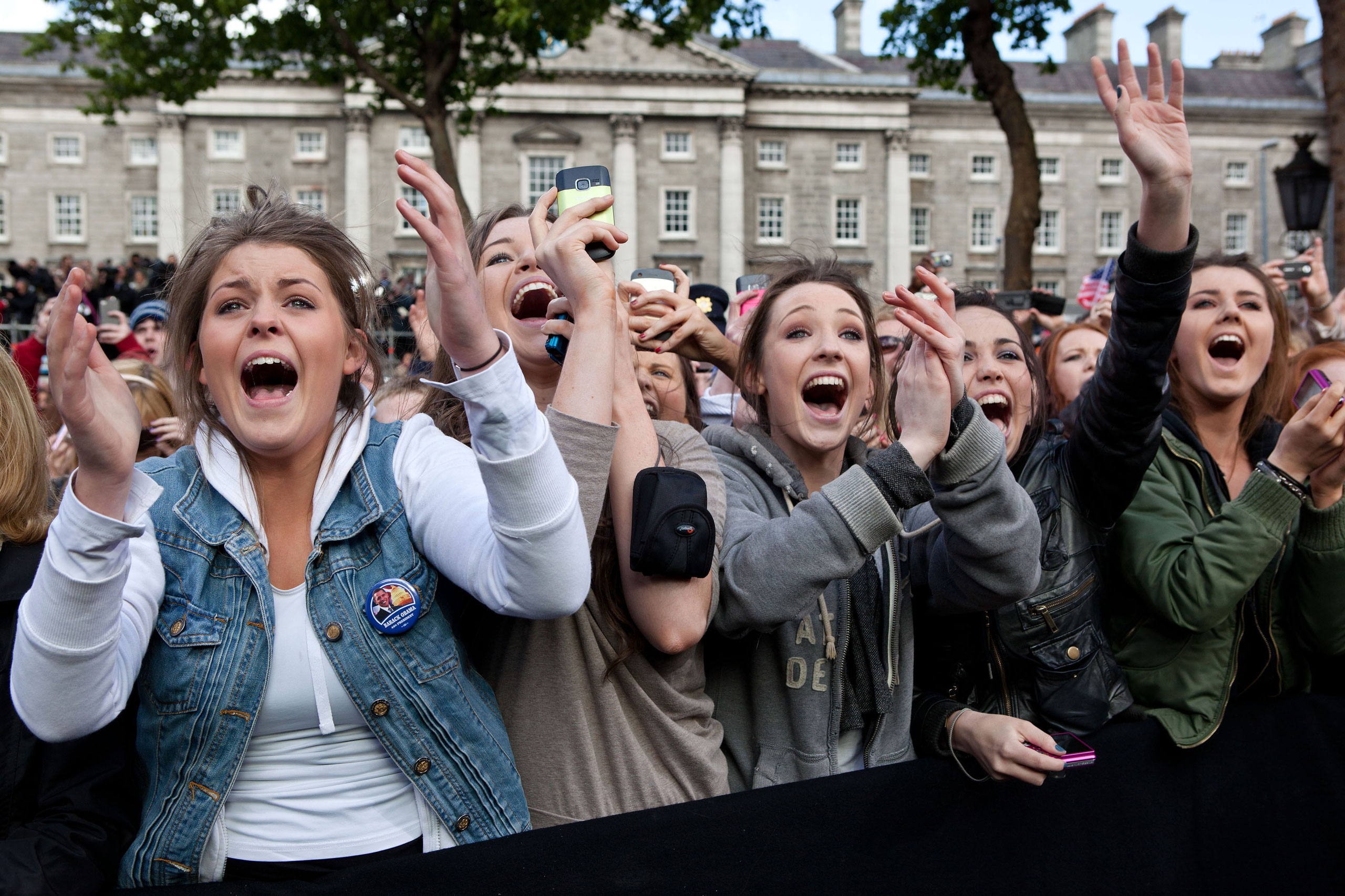 I can still hear these Irish girls screaming, 'Barack! Barack! Michelle! Michelle!' It reminded me of the old black and white video footage of American girls screaming at the Beatles in concert. These girls were cheering as the President and First Lady took the stage at the College Green in Dublin, Ireland,  May 23, 2011.