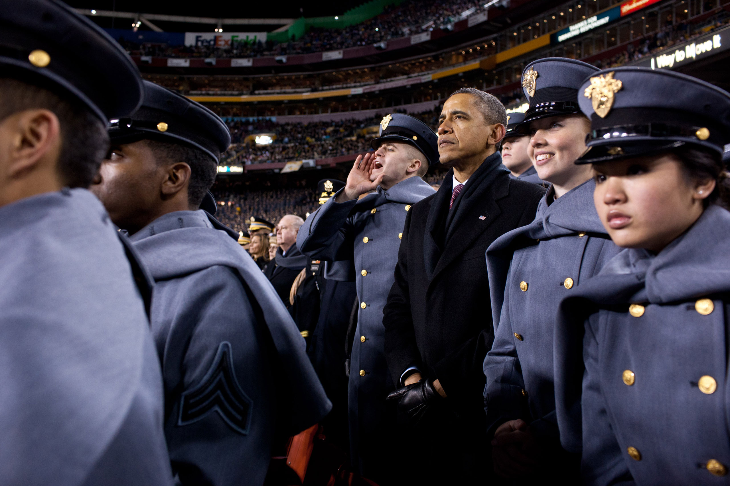 Attending the annual Army vs. Navy football game at FedEx Field outside Washington, the President spent part of the first half watching the game with Midshipmen from the Naval Academy. During the second half, he crossed the field and watched with Cadets from the U.S. Military Academy (pictured here), Dec. 10, 2011.