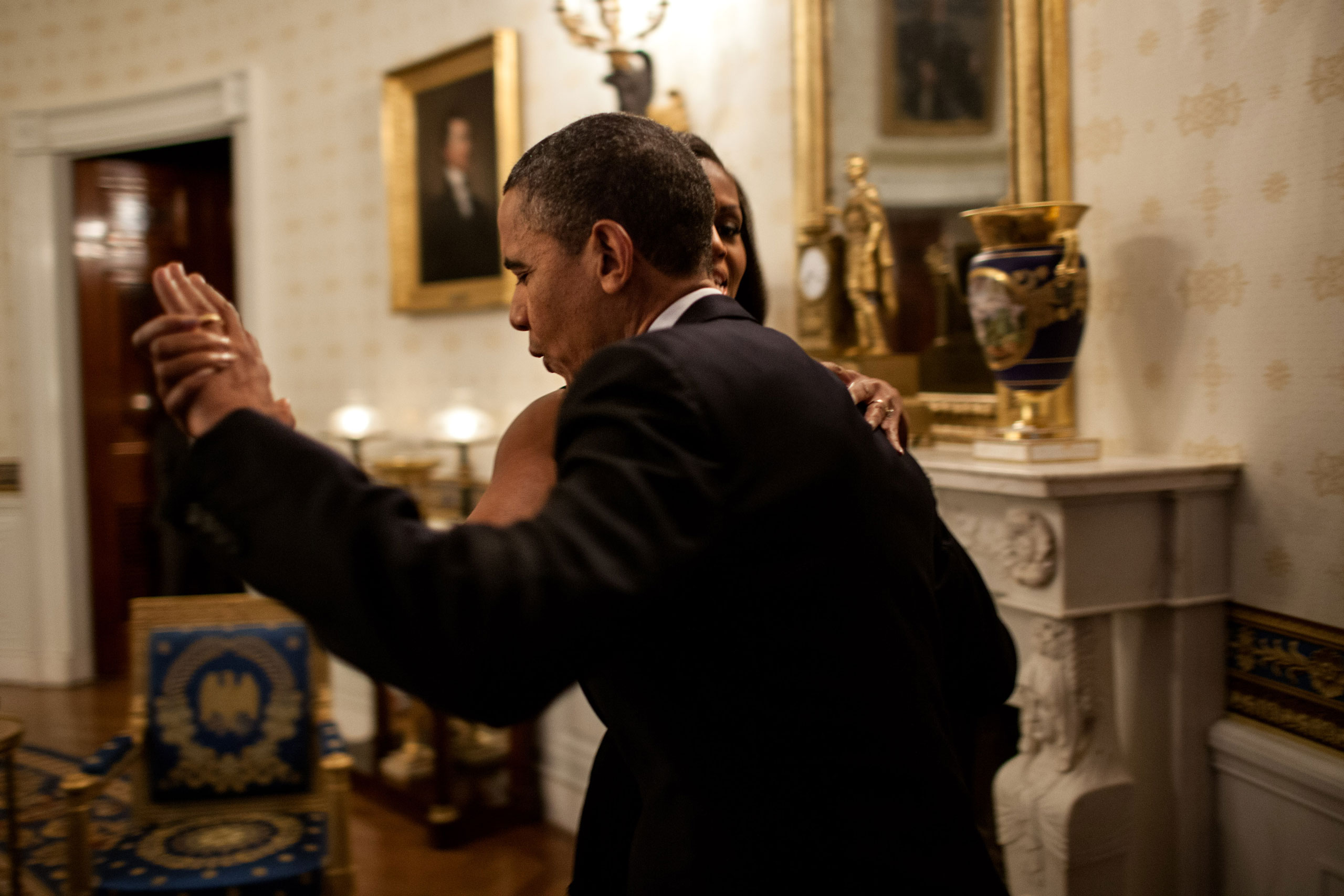 President Barack Obama dances with First Lady Michelle Obama in the Blue Room of the White House prior to an  In Performance at the White House  series concert honoring songwriters Burt Bacharach and Hal David, May 9, 2012. During the concert the President presented Bacharach and Eunice David, on behalf of her husband, with the Library of Congress Gershwin Prize for Popular Song.