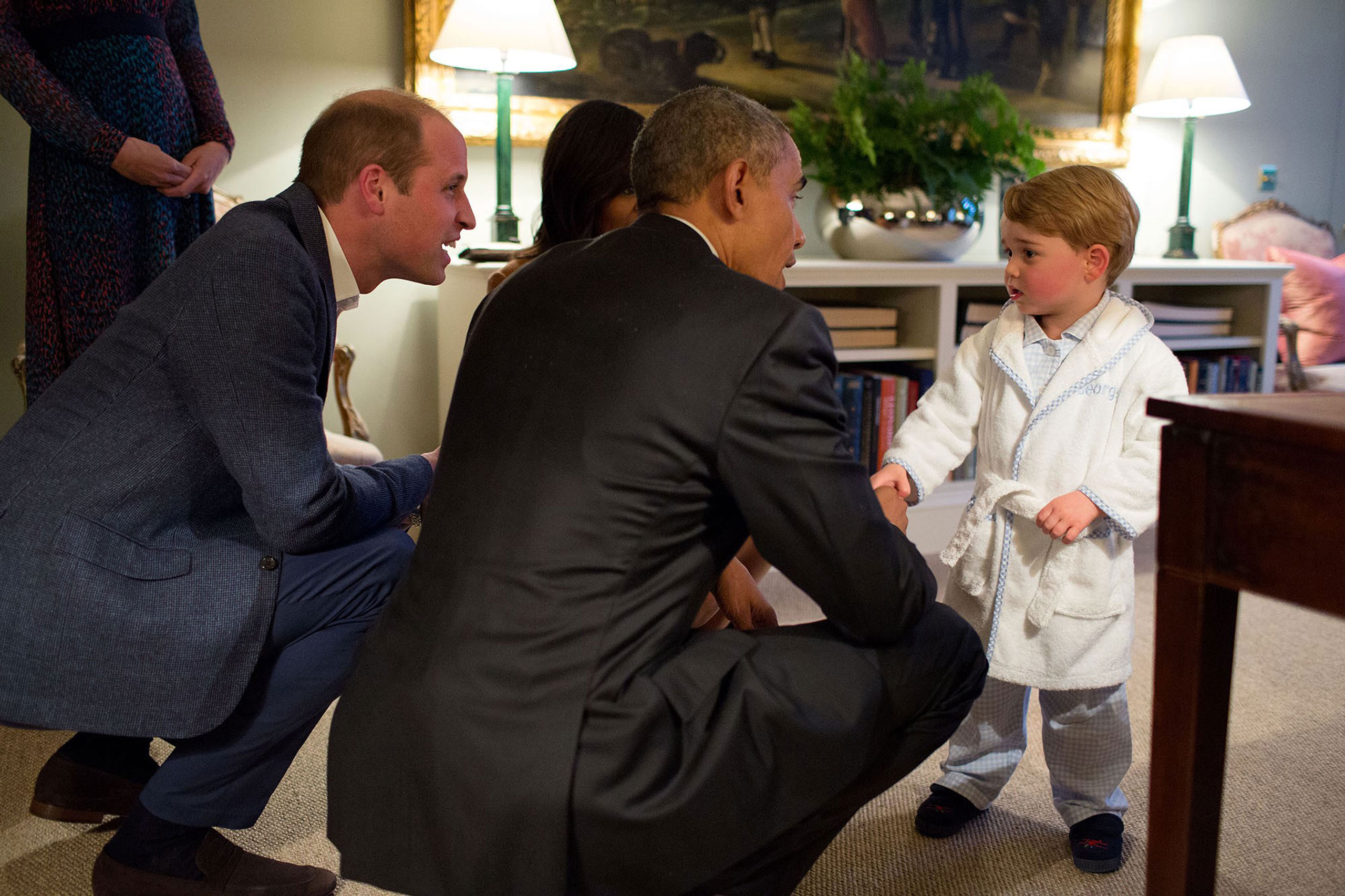 """""""Originally it was unclear whether I would be permitted to photograph the President meeting Prince George. But the night before, our advance team called and said they had gotten word from Kensington Palace that they would allow me access to make candid photographs during their visit. Afterwards, this photograph garnered the most attention but at the time all I could think was how the table at right was hindering my ability to be at the optimum angle for this moment, April 22, 2016."""""""