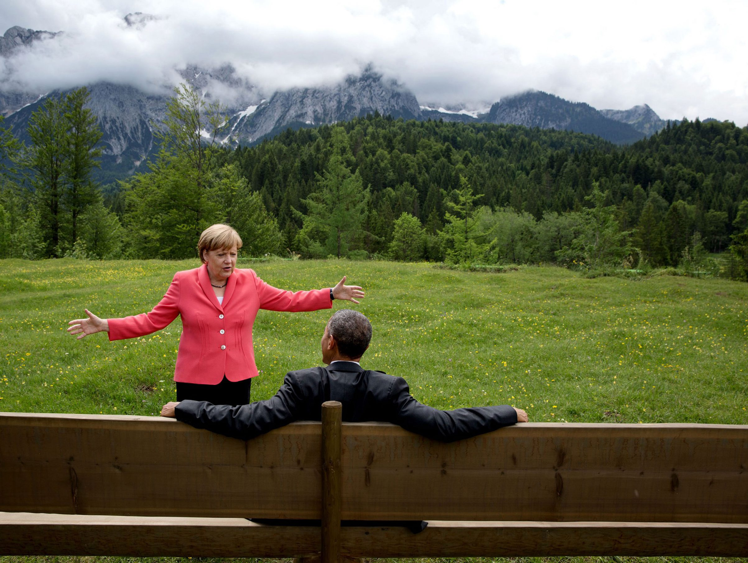 German Chancellor Angela Merkel talks with President Barack Obama at the G7 Summit in Krün, Germany, on June 8, 2015.