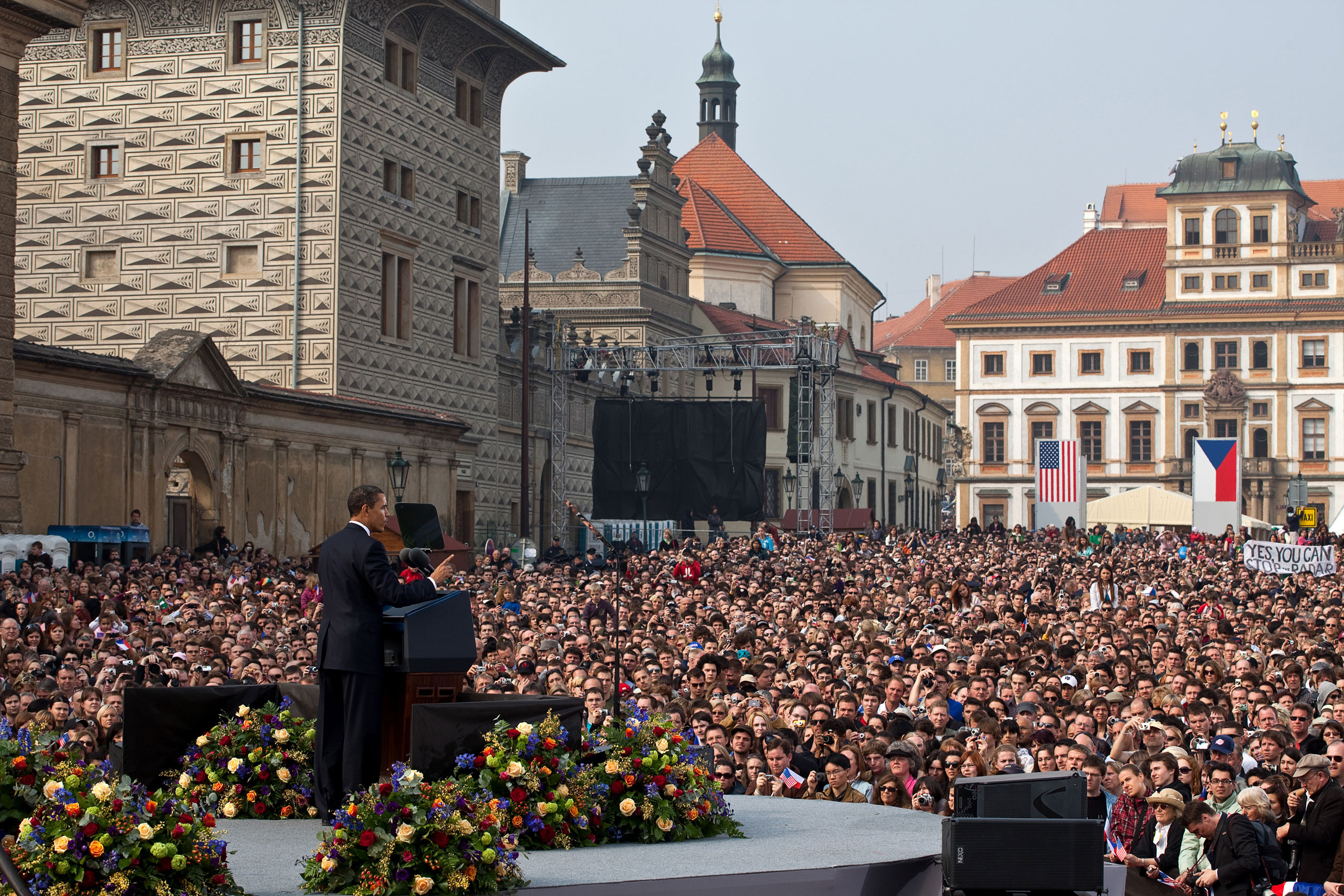 President Barack Obama delivers his first major speech stating a commitment to seek the peace and security of a world without nuclear weapons in front of thousands in Prague, Czech Republic, April 5, 2009.