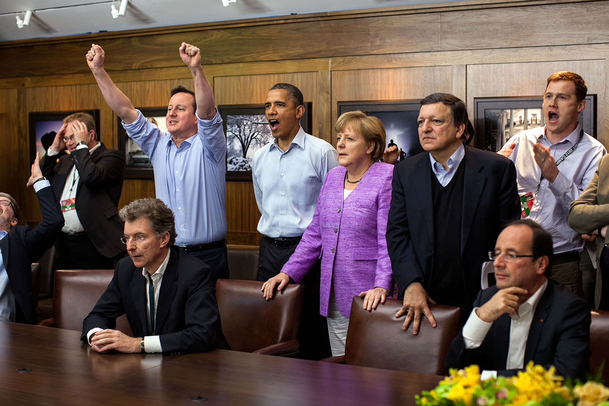 At Camp David for the G8 Summit, European leaders took a break to watch the overtime shootout of the Chelsea vs. Bayern Munich Champions League final. Prime Minister David Cameron of the United Kingdom, the President, Chancellor Angela Merkel of Germany, José Manuel Barroso, President of the European Commission, French President François Hollande react during the winning goal,                                May 19, 2012.