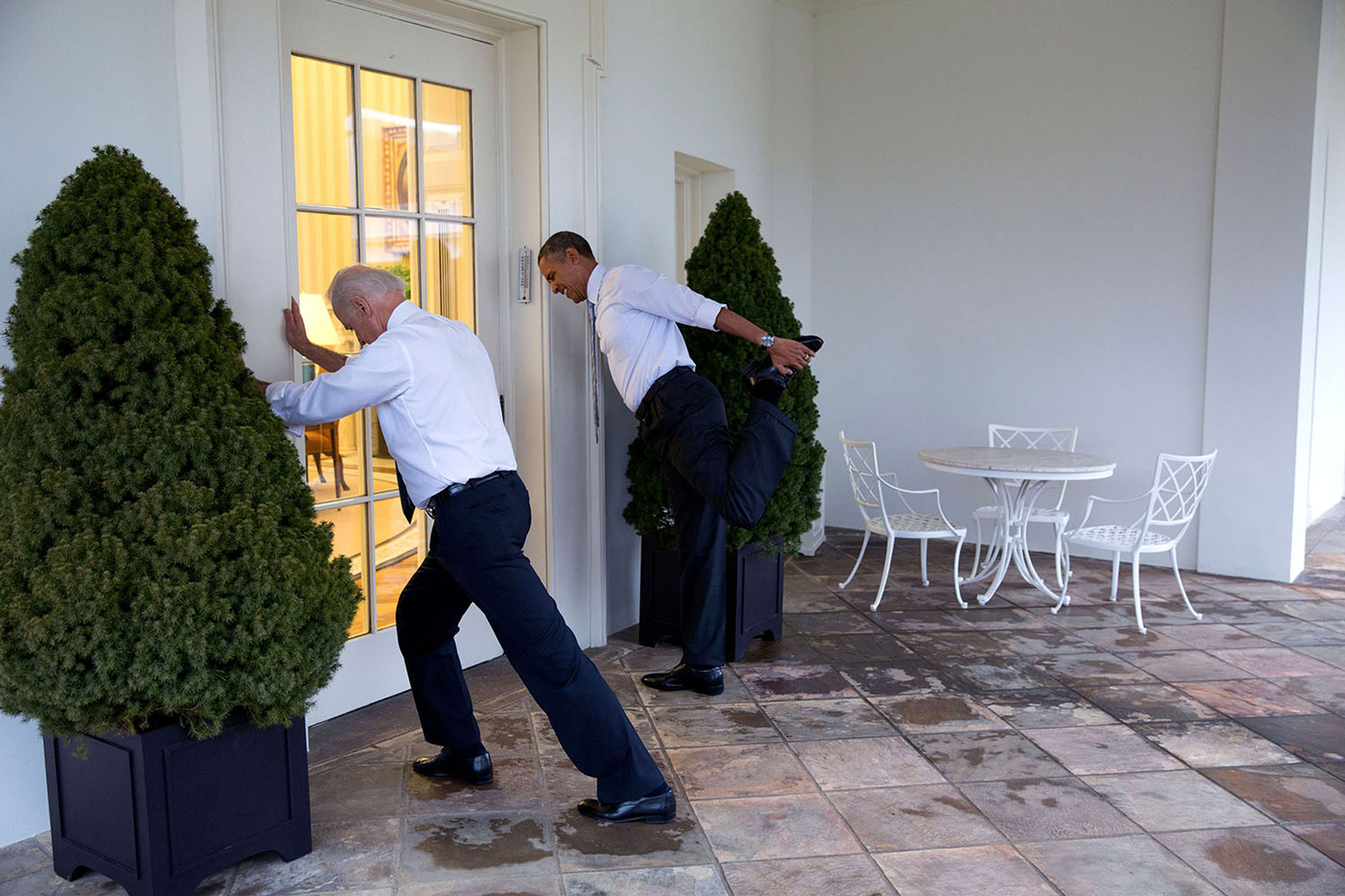President Barack Obama and Vice President Joe Biden participate in a  Let's Move!  video taping on the Colonnade of the White House, Feb. 21, 2014.