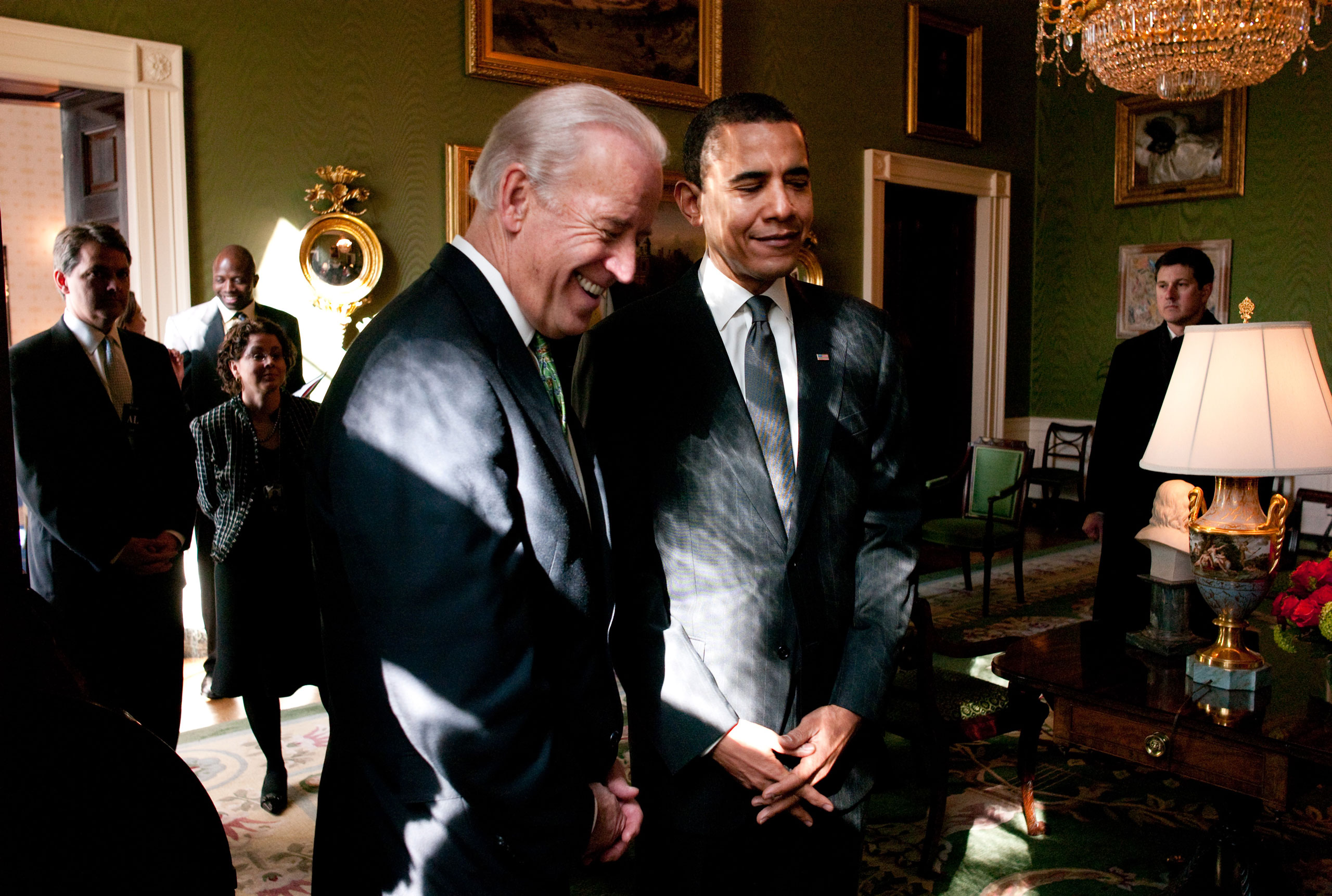 President Barack Obama and Vice President Joe Biden in the Green Room prior to a meeting with U.S. Mayors, Feb. 20, 2009.