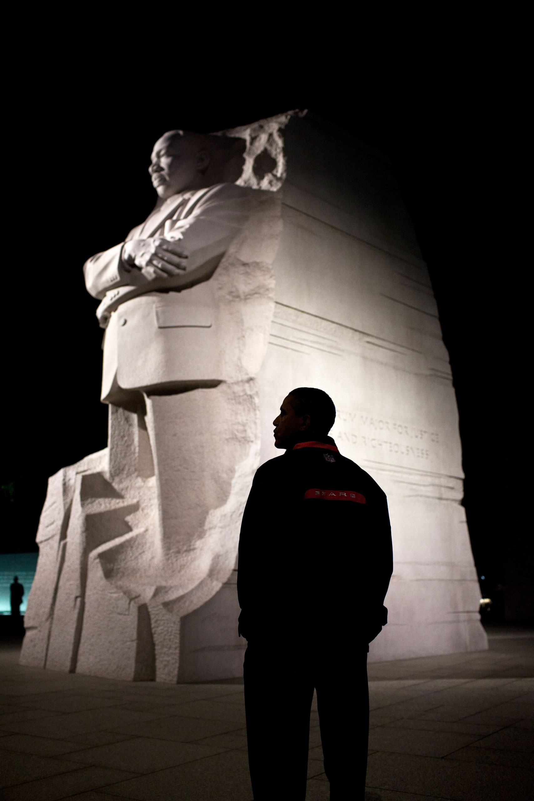 President Barack Obama tours the Martin Luther King Memorial in Washington, D.C., Oct. 14, 2011.