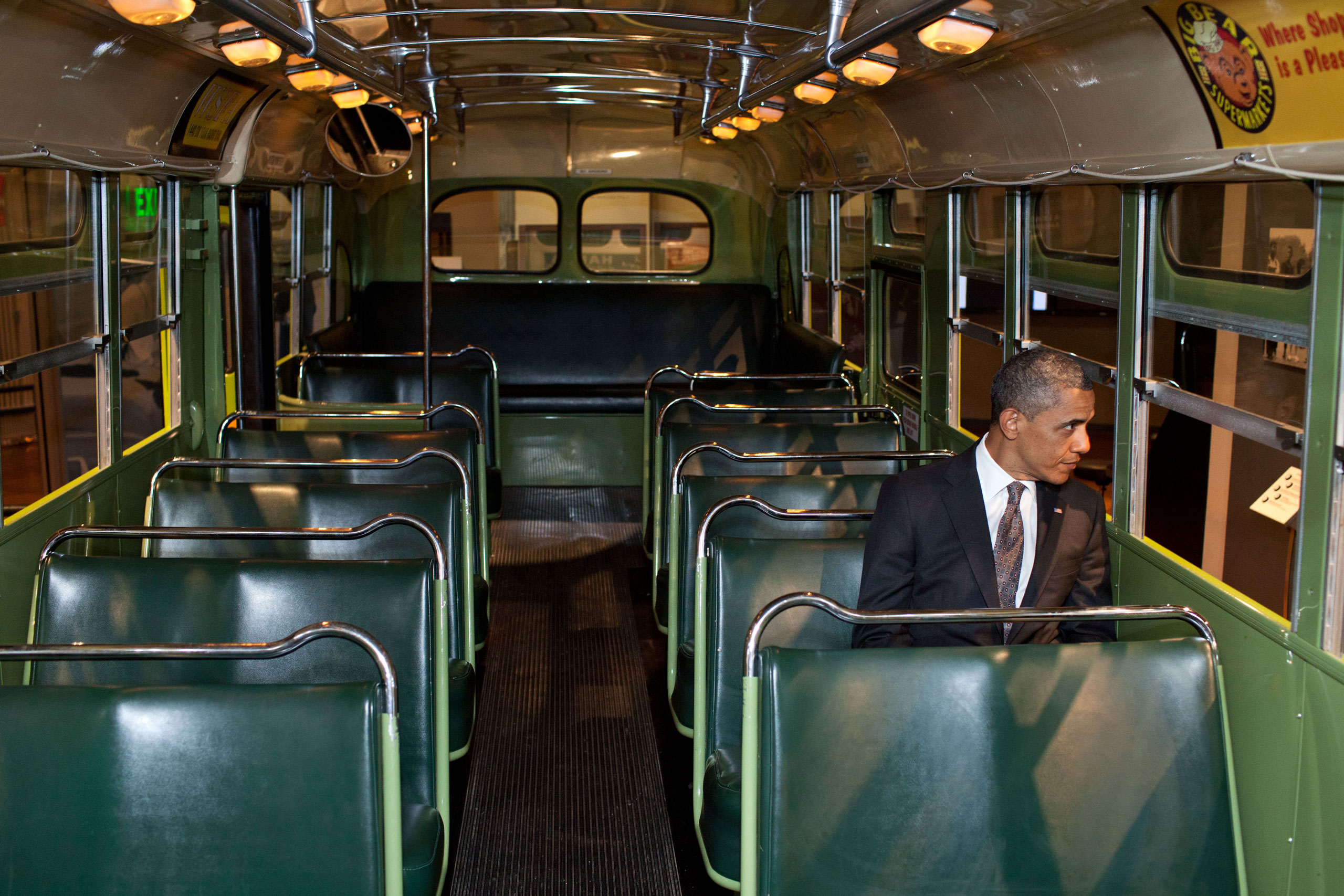 We were doing an event at the Henry Ford Museum in Dearborn, Mich. Before speaking, the President was looking at some of the automobiles and exhibits adjacent to the event, and before I knew what was happening he walked onto the famed Rosa Parks bus. He sat in one of the seats, looking out the window for only a few seconds.  April 18, 2012