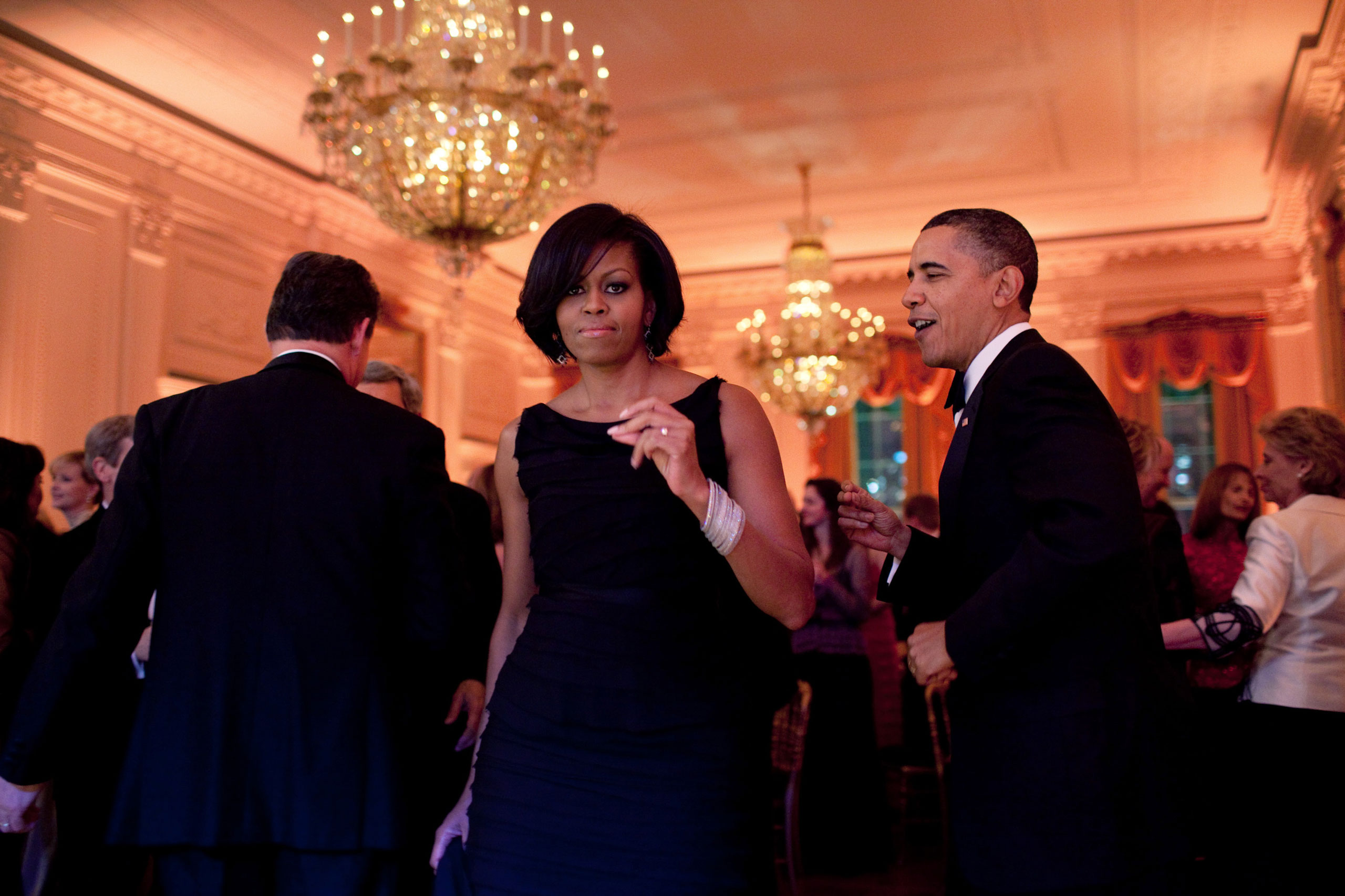 The President and First Lady were dancing along to the music of the Harry Connick, Jr., Big Band at the Governors Ball. Mrs. Obama turned towards me and, for one split second, looked right at me. Usually I strive to capture moments when the subjects are unaware of the camera. But this an exception where I actually liked that she was looking at me, Feb. 21, 2010.