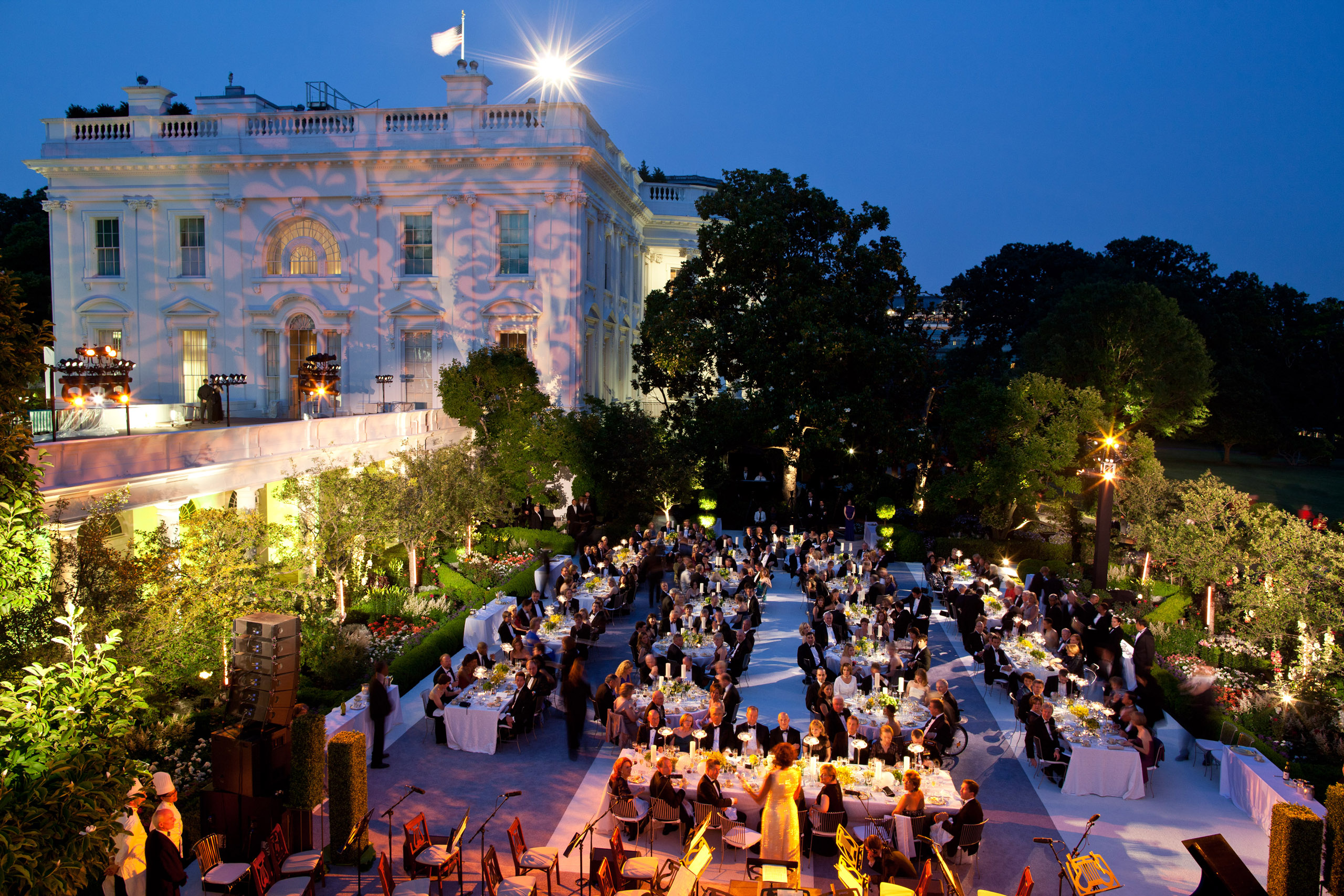 This photograph was taken from the roof above the Oval Office of the Rose Garden during a State Dinner in honor of Chancellor Angela Merkel of Germany and her husband, Dr. Joachim Sauer,  June 7, 2011.