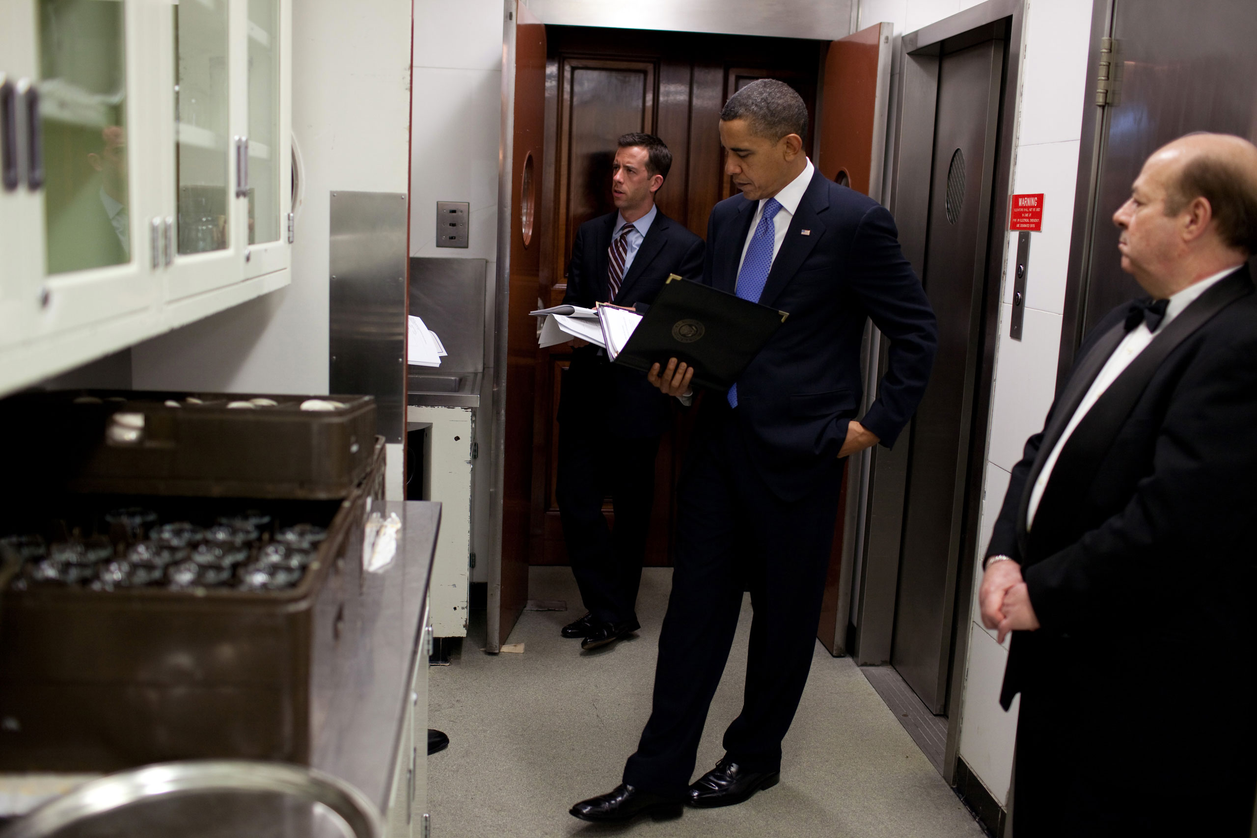 President Barack Obama waits in the Butlers' Pantry before he is introduced during the National Governors Association meeting at the White House, Feb. 22, 2010.