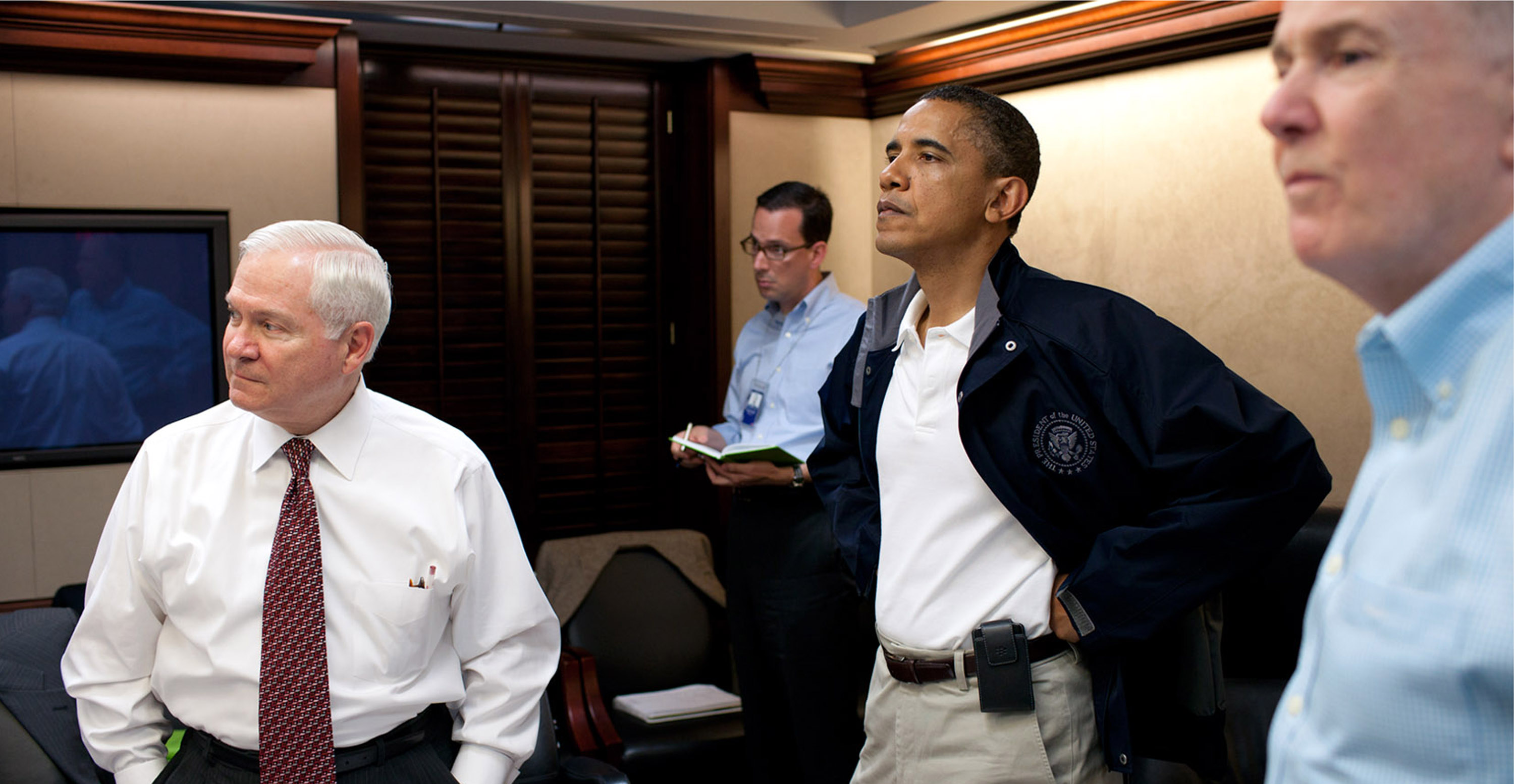 Secretary of Defense Robert Gates (L), President Barack Obama (2nd-R) and National Security Advisor Tom Donilon (R) attend a meeting in the Situation Room on May 1, 2012 in Washington, D.C., to discusss Osama bin Laden.