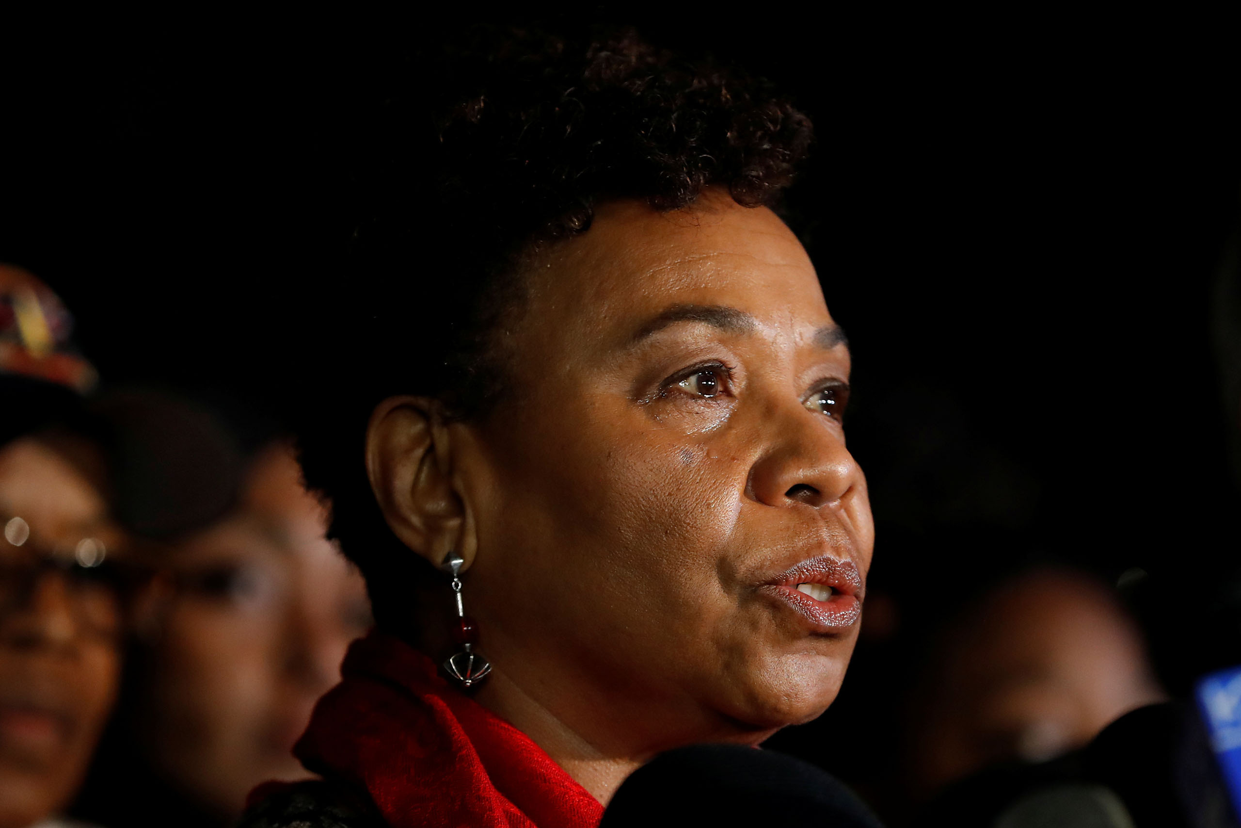 Rep. Barbara Lee as she speaks during a press briefing on the fatal warehouse fire in Oakland, Calif., on Dec. 6, 2016.