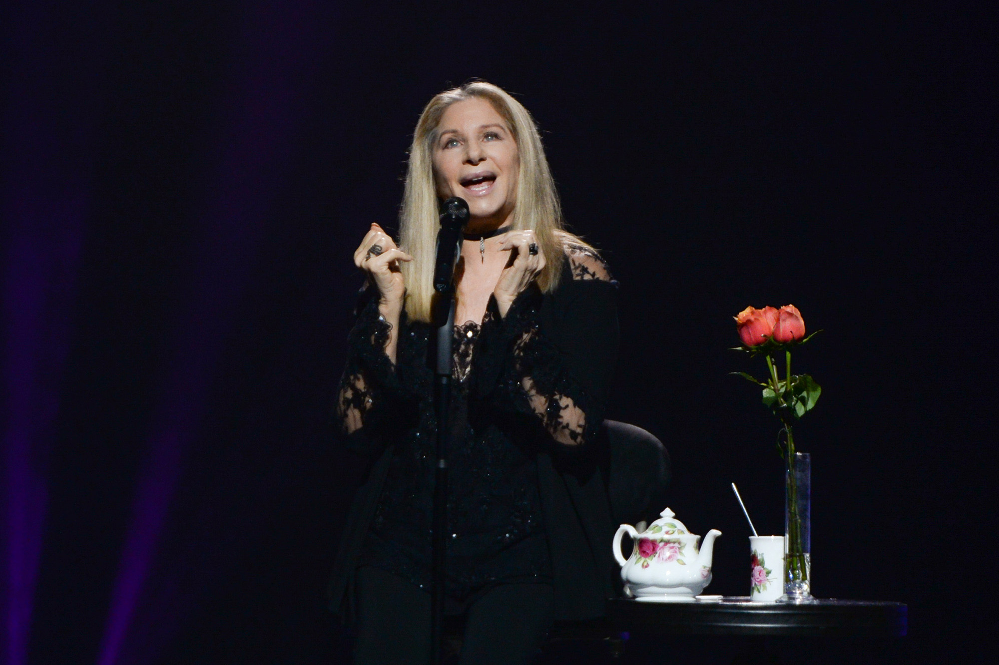 Barbra Streisand performs onstage during the Barbra - The Music...The Mem'ries... The Magic! Tour on December 3, 2016 in Sunrise, Florida.  (Photo by John Parra/WireImage )