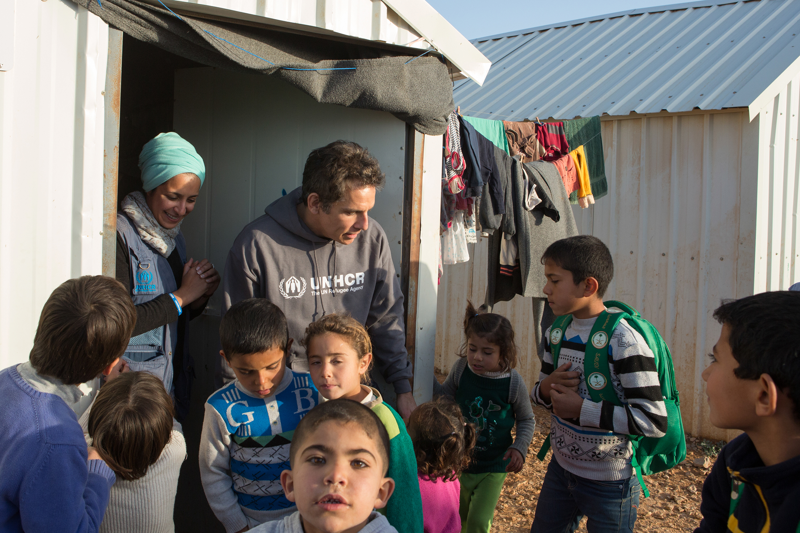 Ben Stiller meets Syrian refugee children in Jordan's Azraq refugee camp, where more than half of the 54,000 refugees registered there are children.