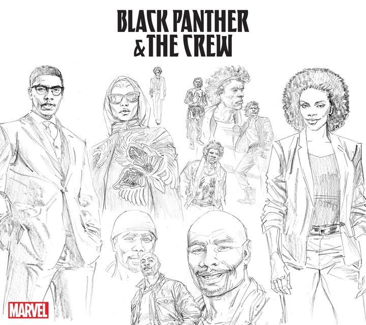 Illustrations of 'Black Panther & The Crew' by Butch Guice