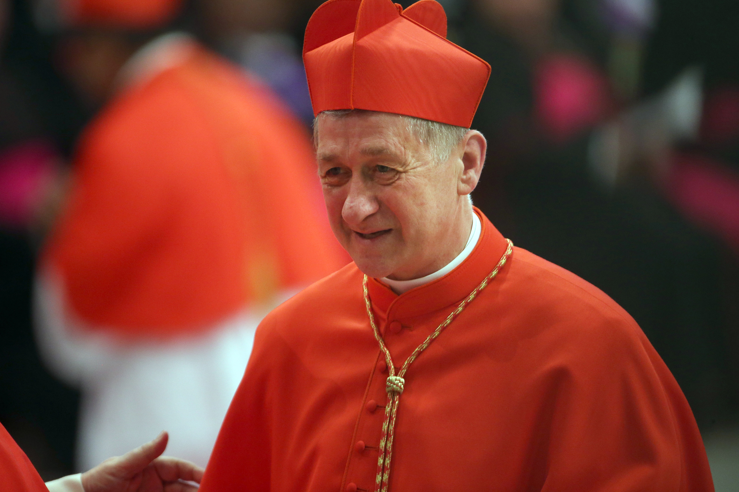 Archbishop of Chicago Blase J. Cupich receives congratulations from cardinals during the Ordinary Public Consistory celebrated by Pope Francis at St. Peter's Basilica in Vatican City on Nov. 19, 2016.