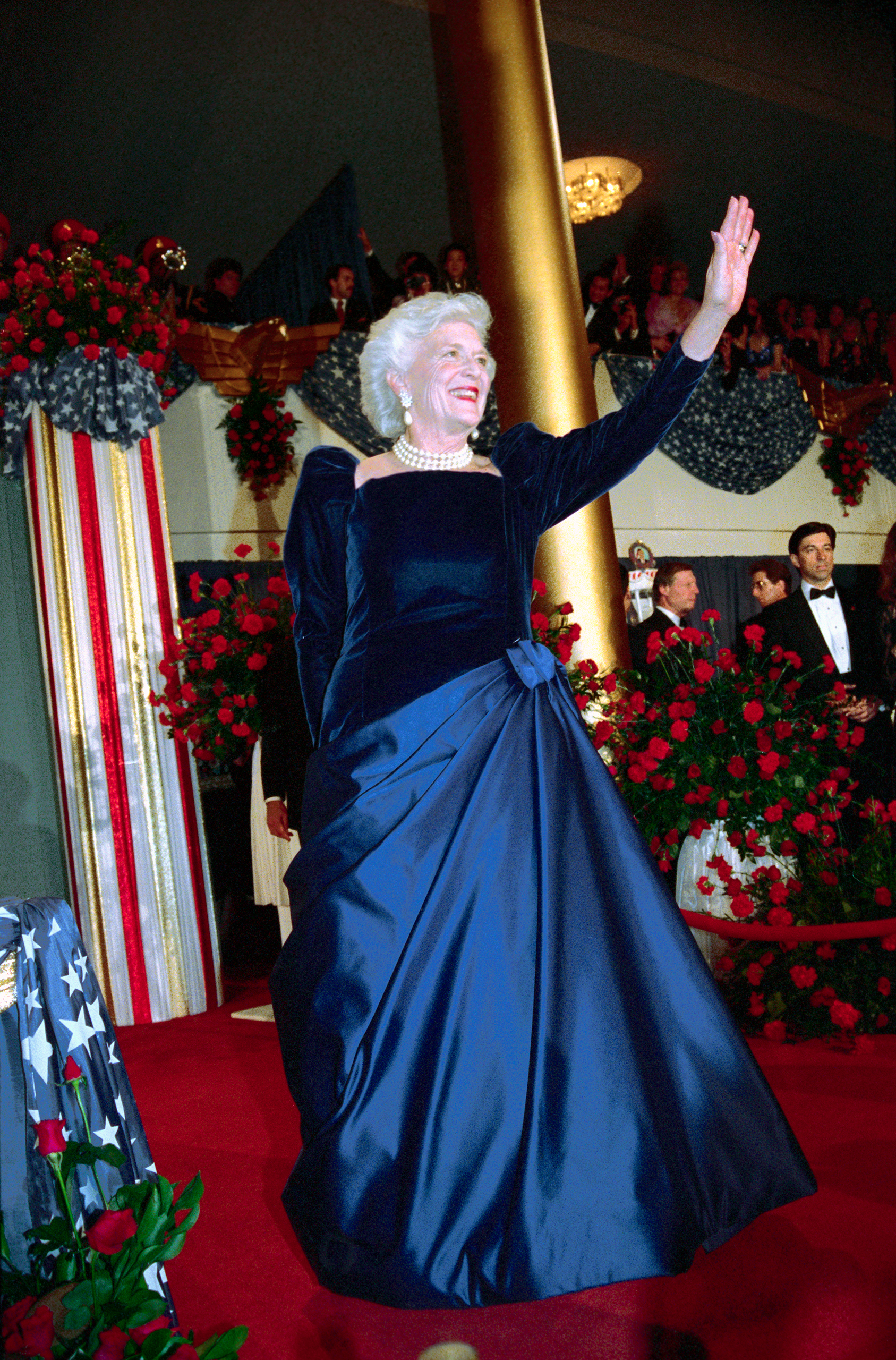 Barbara Bush, Arnold Scaasi, 1989: In this royal blue gown with a velvet top and satin skirt, Bush became known as America's  most glamorous grandmother.