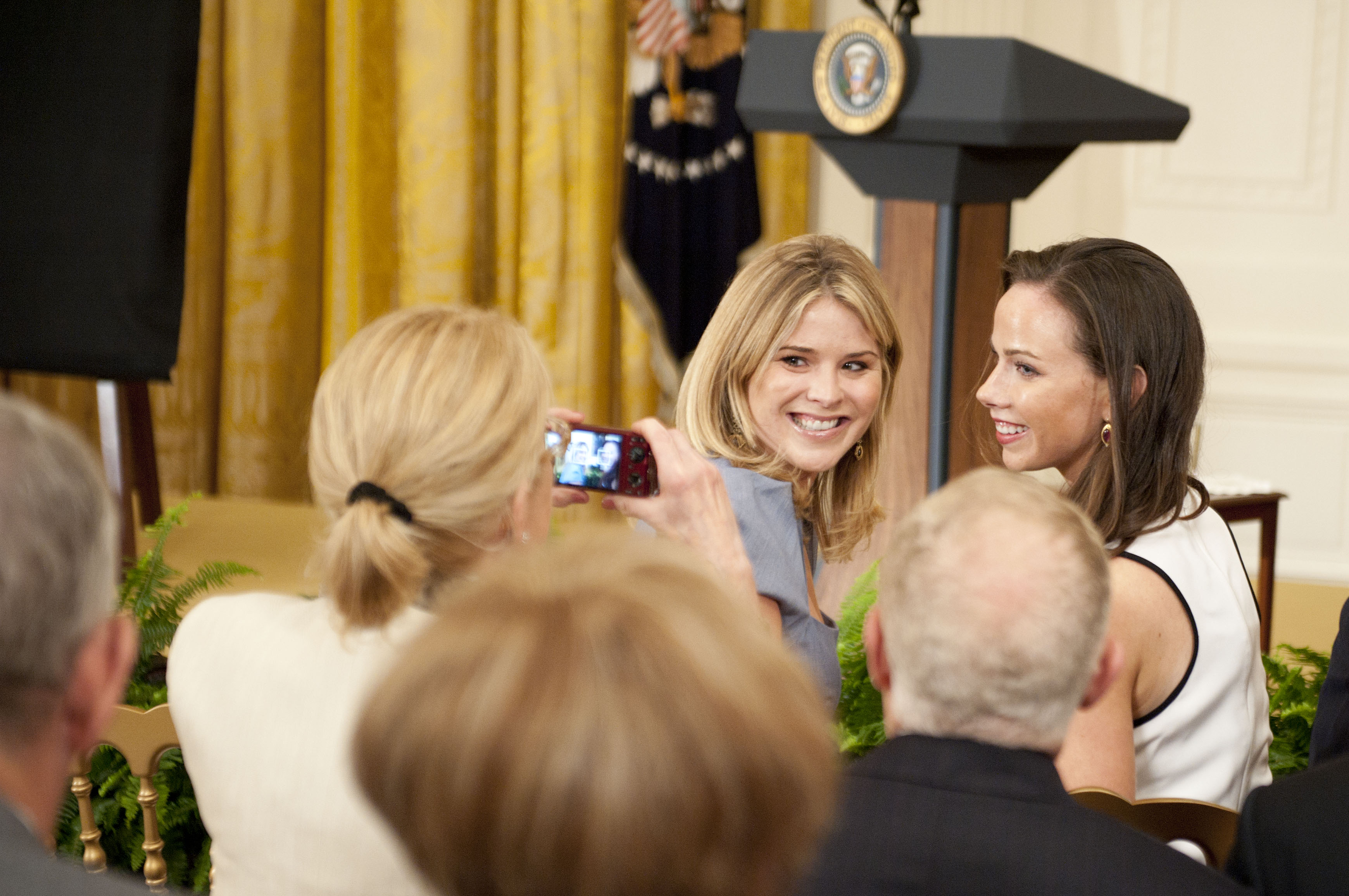 Jenna Bush-Hager and Barbara Bush attend the George W. Bush and Laura Bush Portrait unveiling at the White House on May 31, 2012 in Washington, DC.
