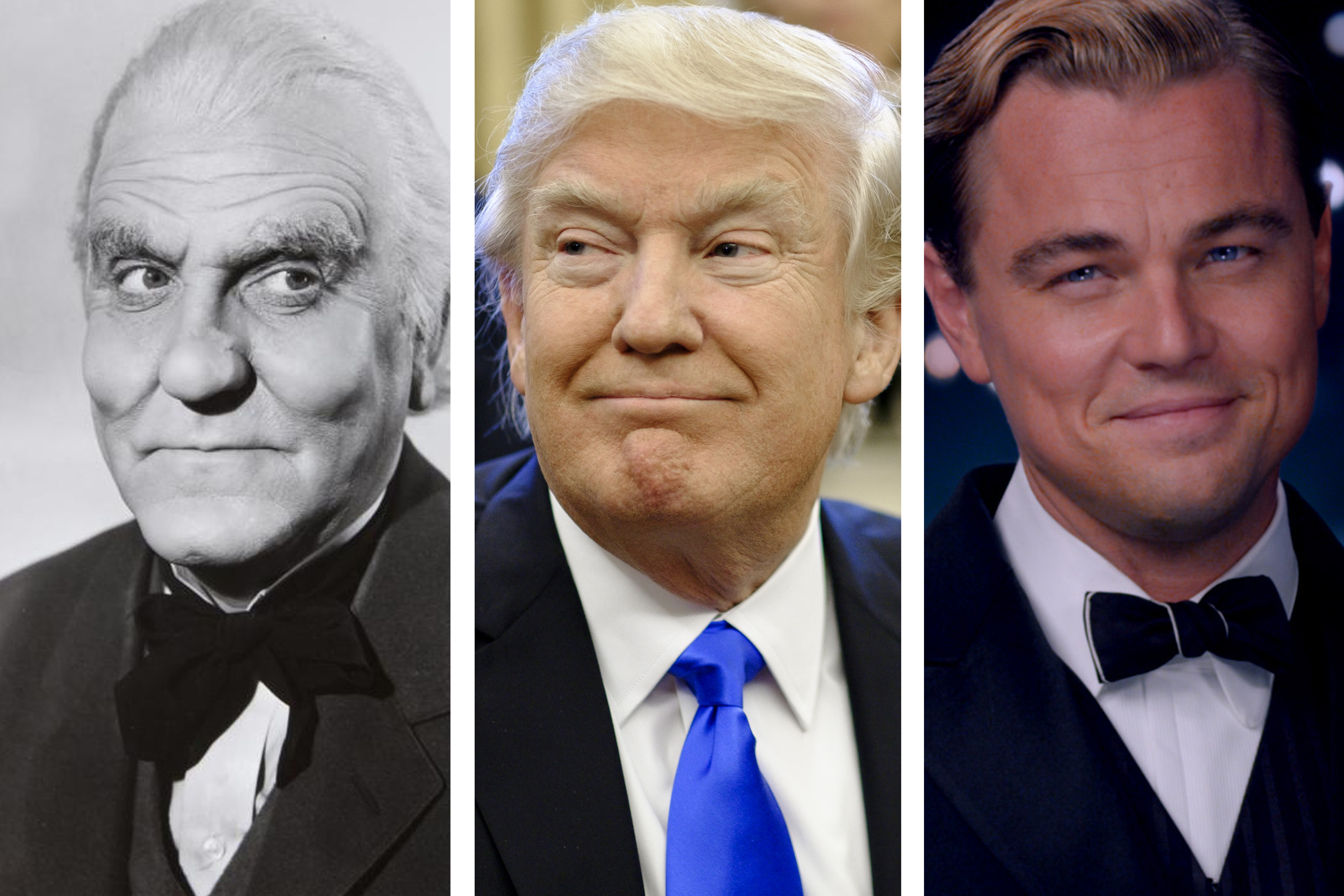 From left: Frank Morgan in The Wizard of Oz; President Donald Trump; Leonardo di Caprio in The Great Gatsby.