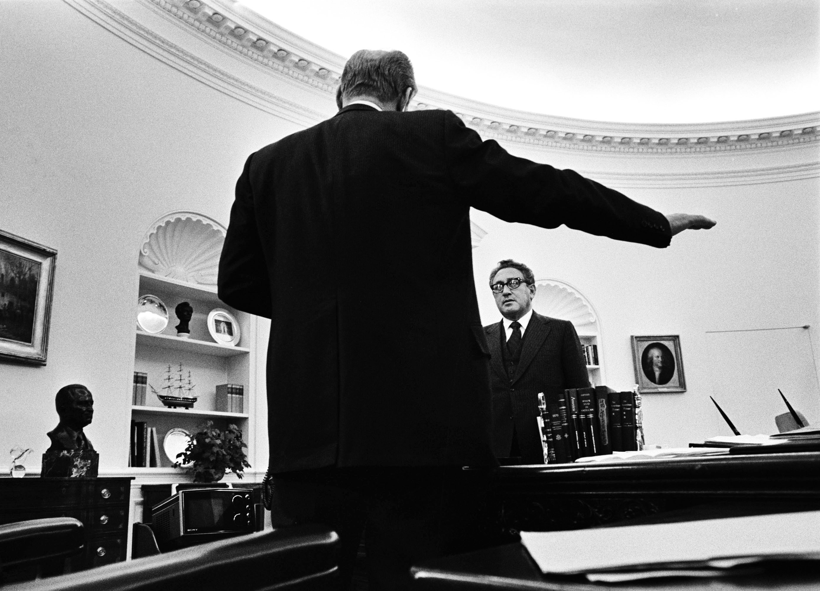 As White House photographer I was able to be in situations off limits to other photographers, and was able to document many critical historical moments,  says David Hume Kennerly, who photographed President Ford and Secretary of State Henry Kissinger discussing the ongoing negotiations on the Strategic Arms Limitation Treaty (SALT) being conducted with the Soviets on March 24, 1976.