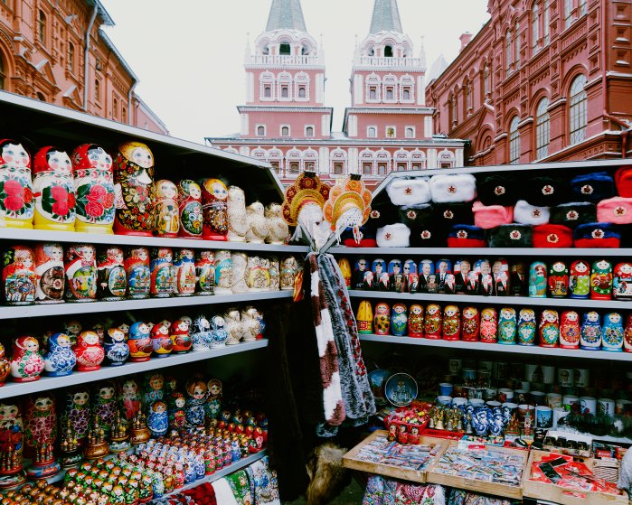 A spread of Russian collectible dolls for sale around Moscow's Red Square depict President Vladimir Putin and U.S. President Donald Trump on Jan. 20, 2017.