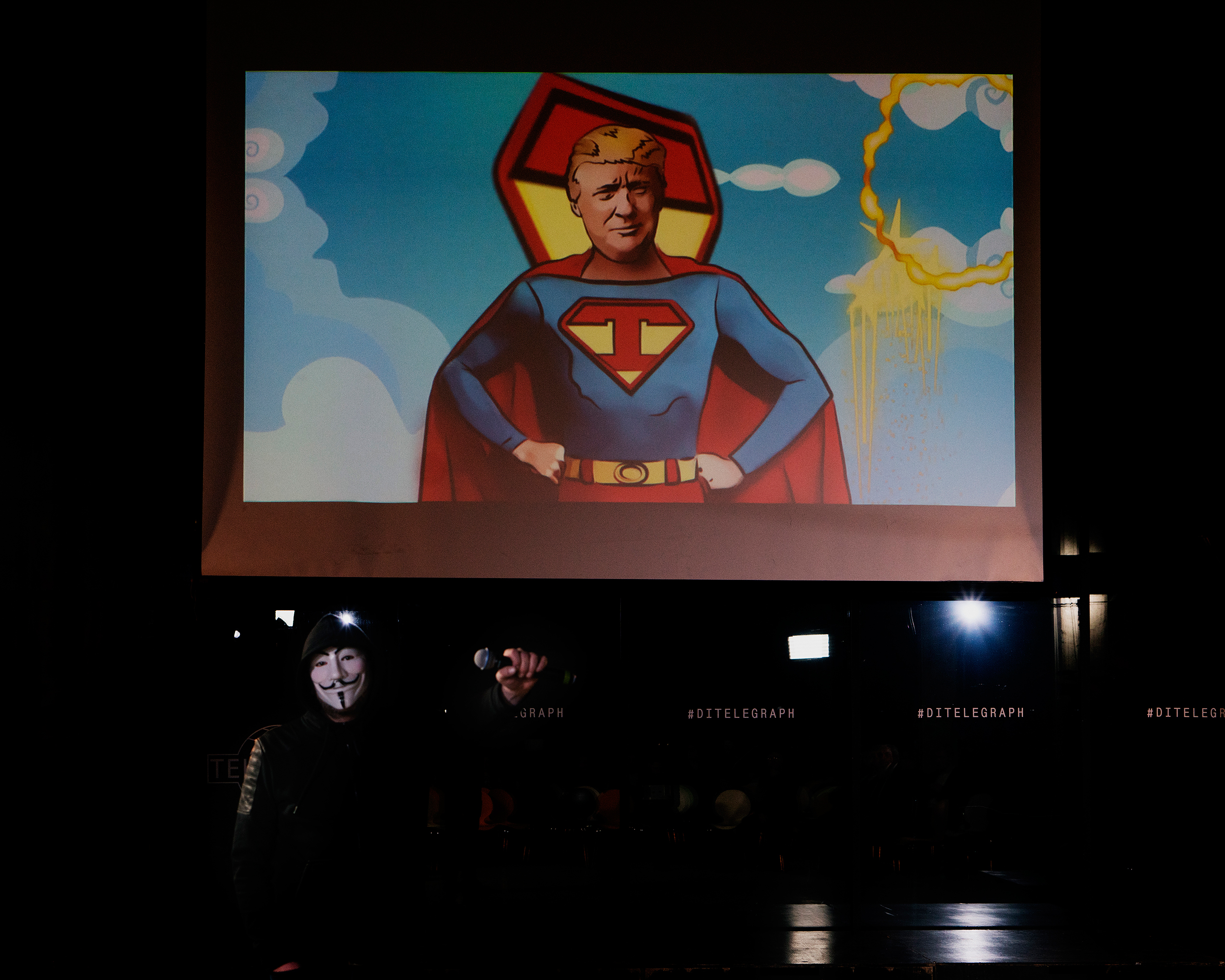 A drawing of Donald Trump is depicted on a Superman-like body on the occasion of his inauguration at an event organized by Maria Katasonova and TzarGrad TV in Moscow on Jan. 20, 2017. Katasonova was a candidate MP in the last Duma elections.