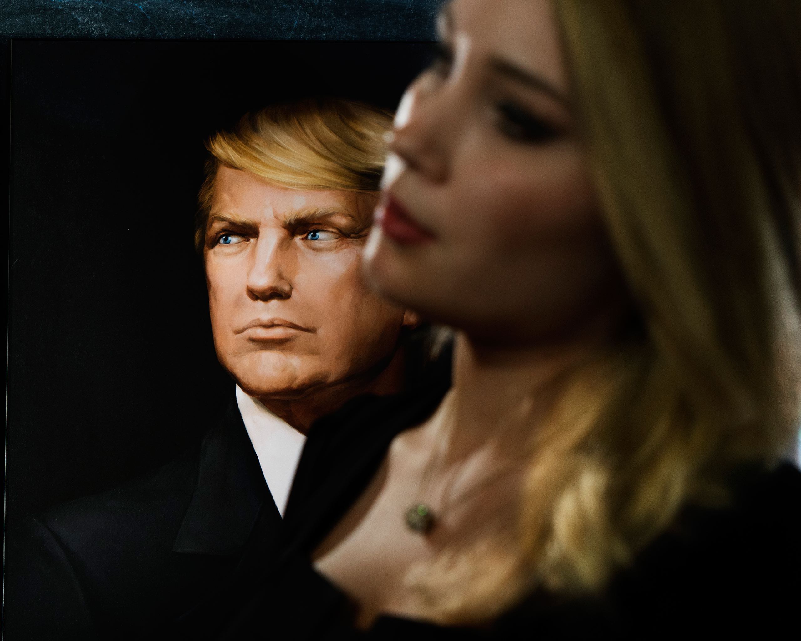 A portrait of U.S. President Donald Trump at an event organized by Maria Katasonova and TzarGrad TV on the occasion of Trump's inauguration in Moscow on Jan. 20, 2017. Katasonova, was a candidate MP in the last Duma election.