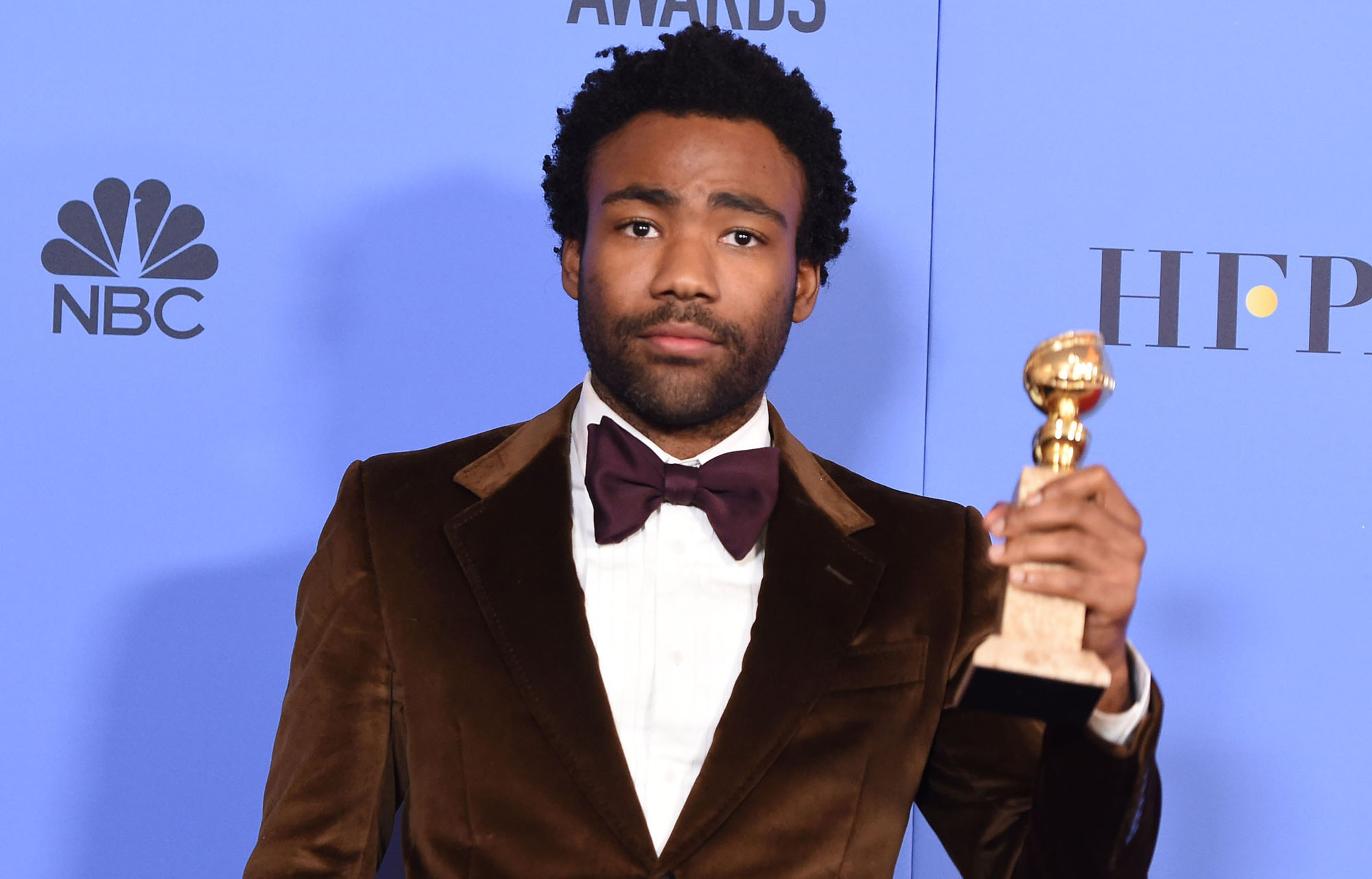 Actor Donald Glover poses with the award for Best Actor in a Television Series Comedy or Musical, in the press room at the 74th Annual Golden Globe Awards on January 8, 2017 in Beverly Hills, California. (ROBYN BECK/AFP/Getty Images)