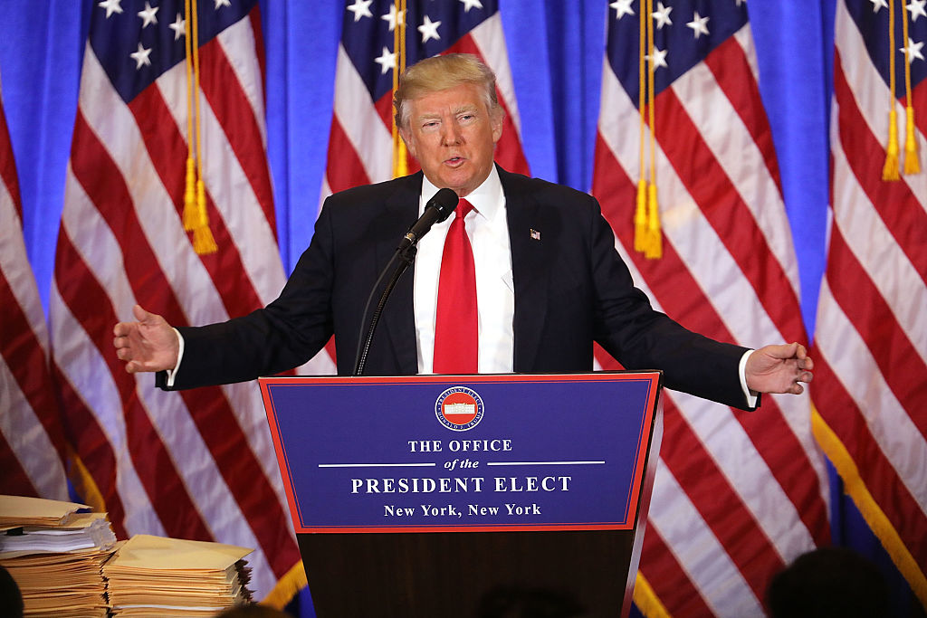 President-elect Donald Trump speaks at a news conference at Trump Tower  on January 11, 2017 in New York City.