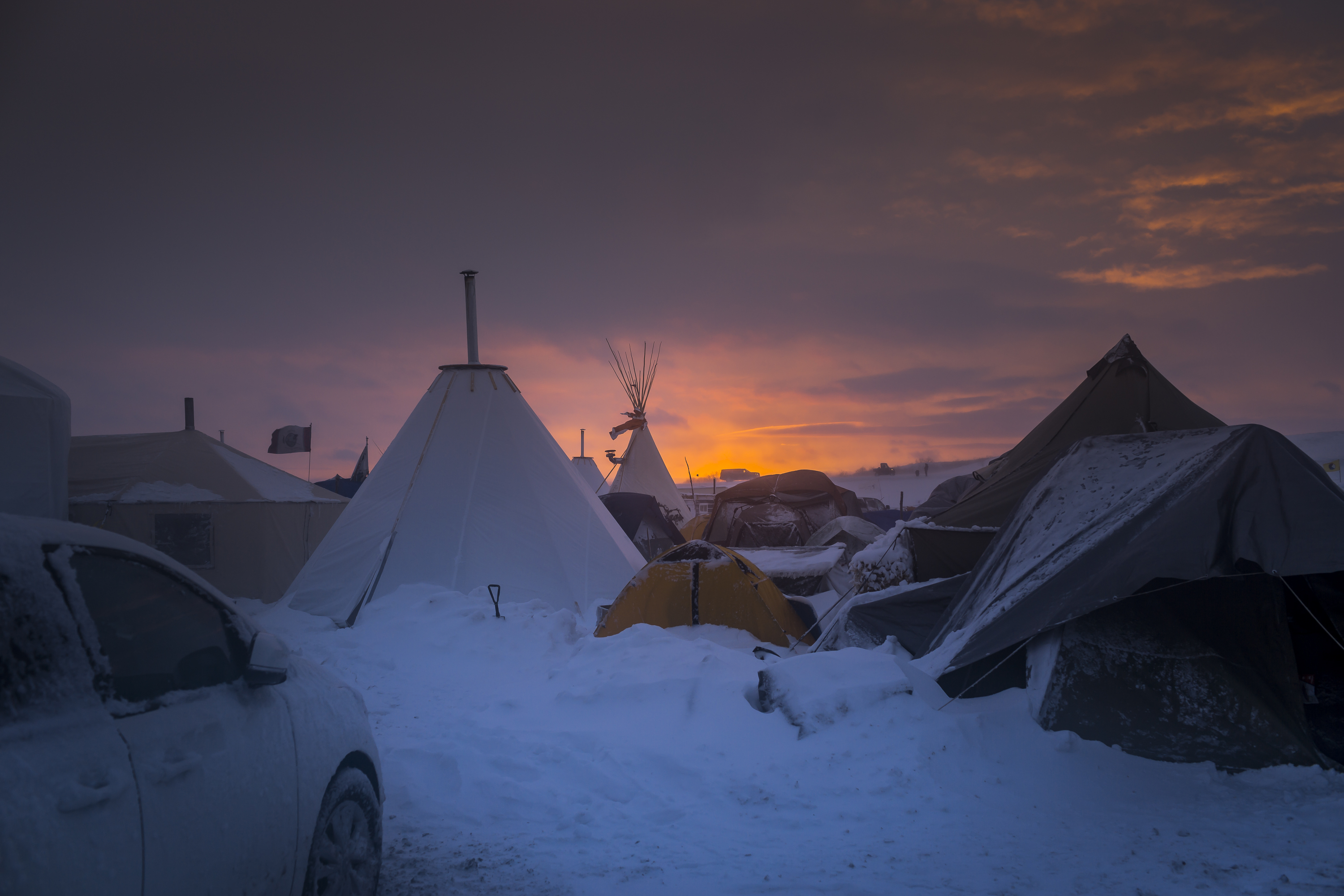 Winter arrives in Standing Rock at the Oceti Sakowin Camp in North Dakota, the day after the Army Corps of Engineers denied the easement needed to build the pipeline.