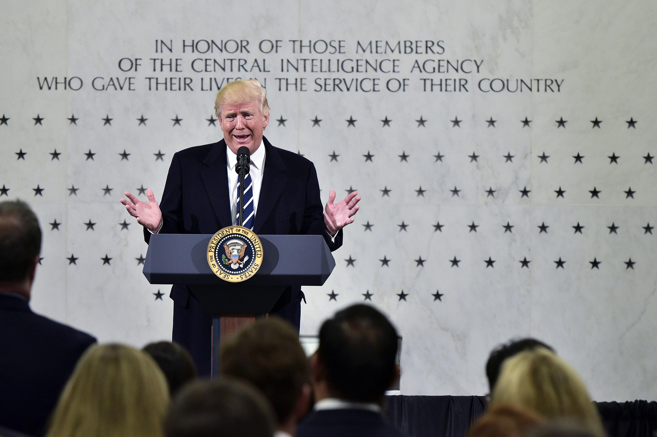 President Donald Trump speaks at CIA Headquarters in Langley, Va., on Jan. 21, 2017.