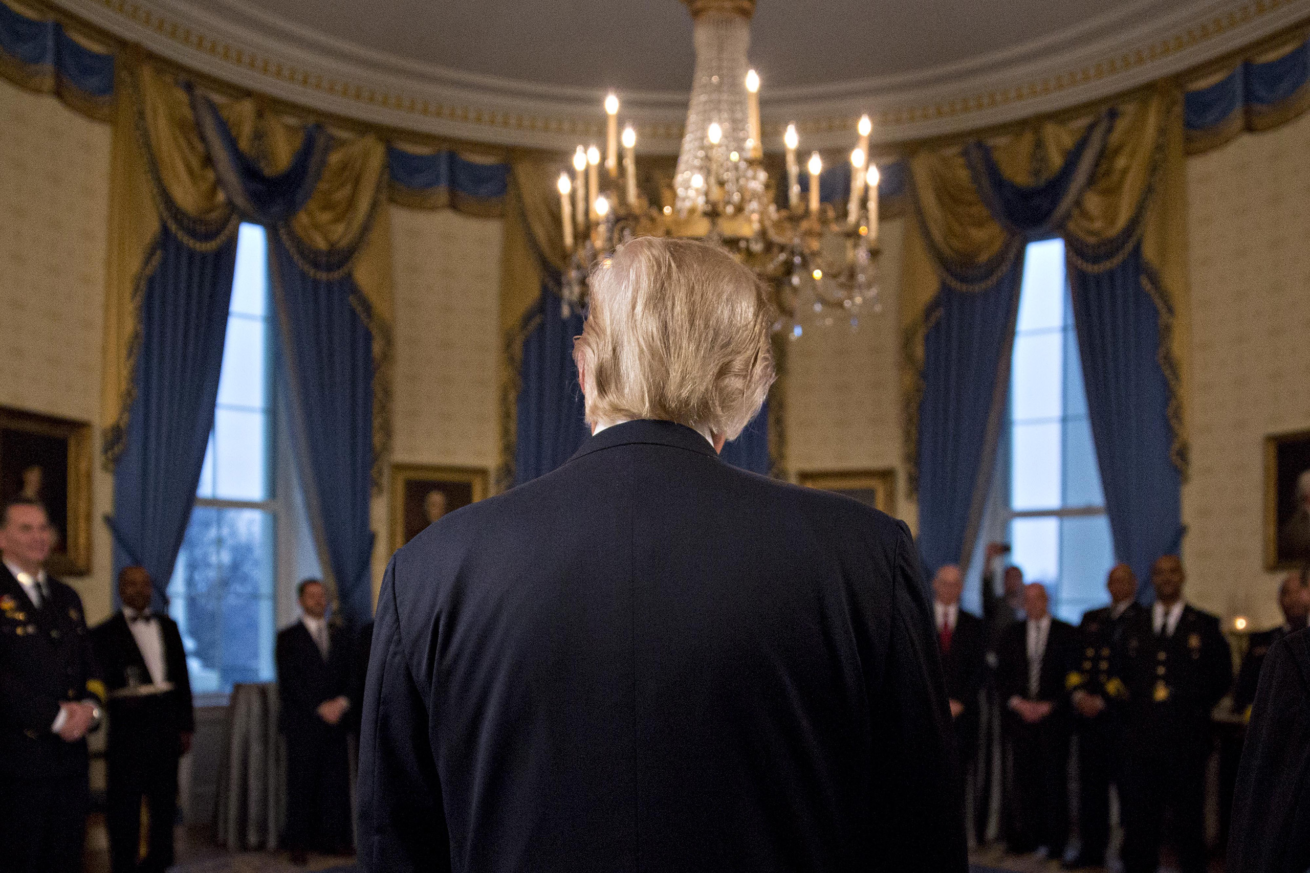 President Donald Trump speaks during an Inaugural Law Enforcement Officers and First Responders Reception in the Blue Room of the White House in Washington, on Jan. 22, 2017.