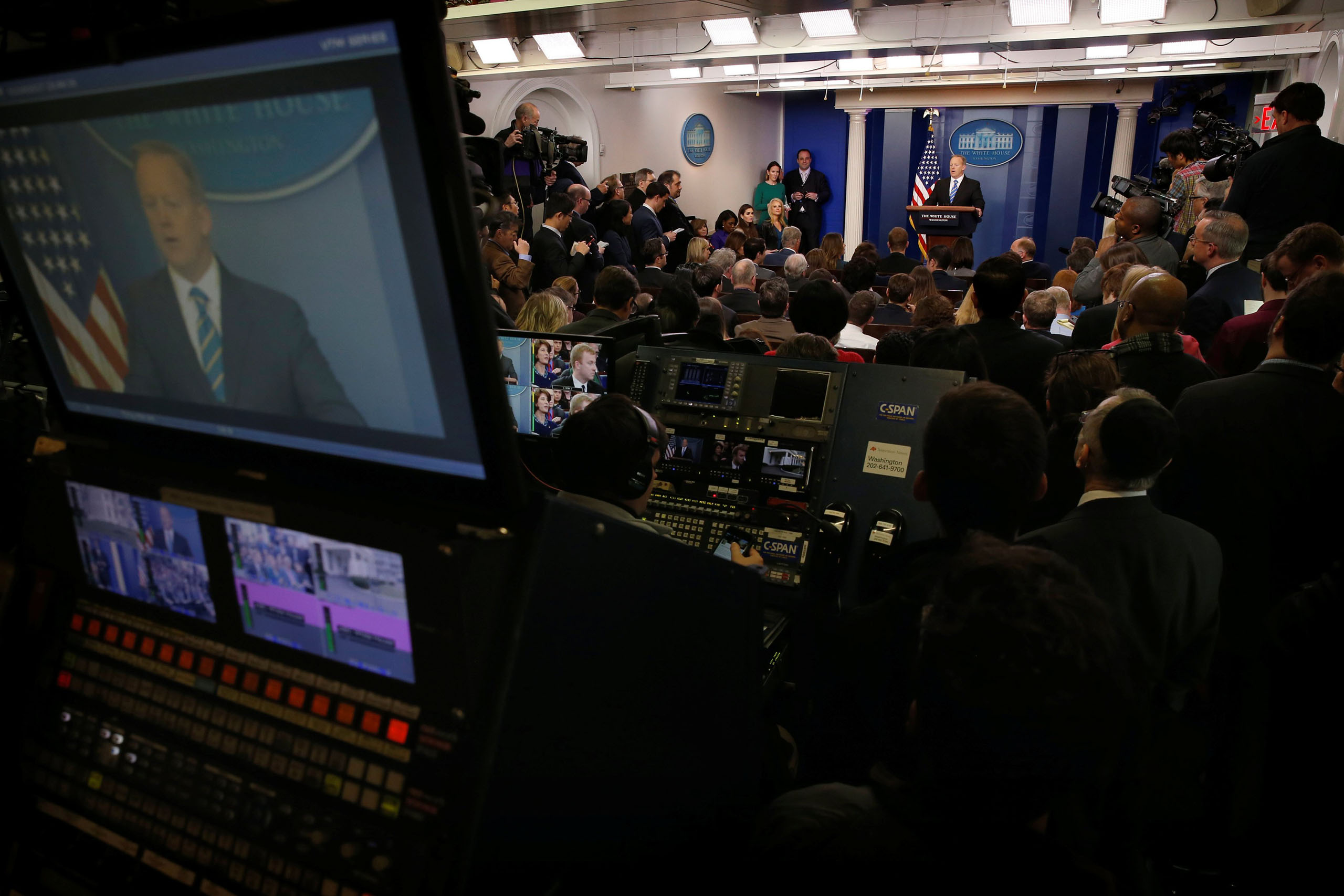 White House spokesman Sean Spicer holds his daily briefing at the White House, on Jan. 24, 2017.