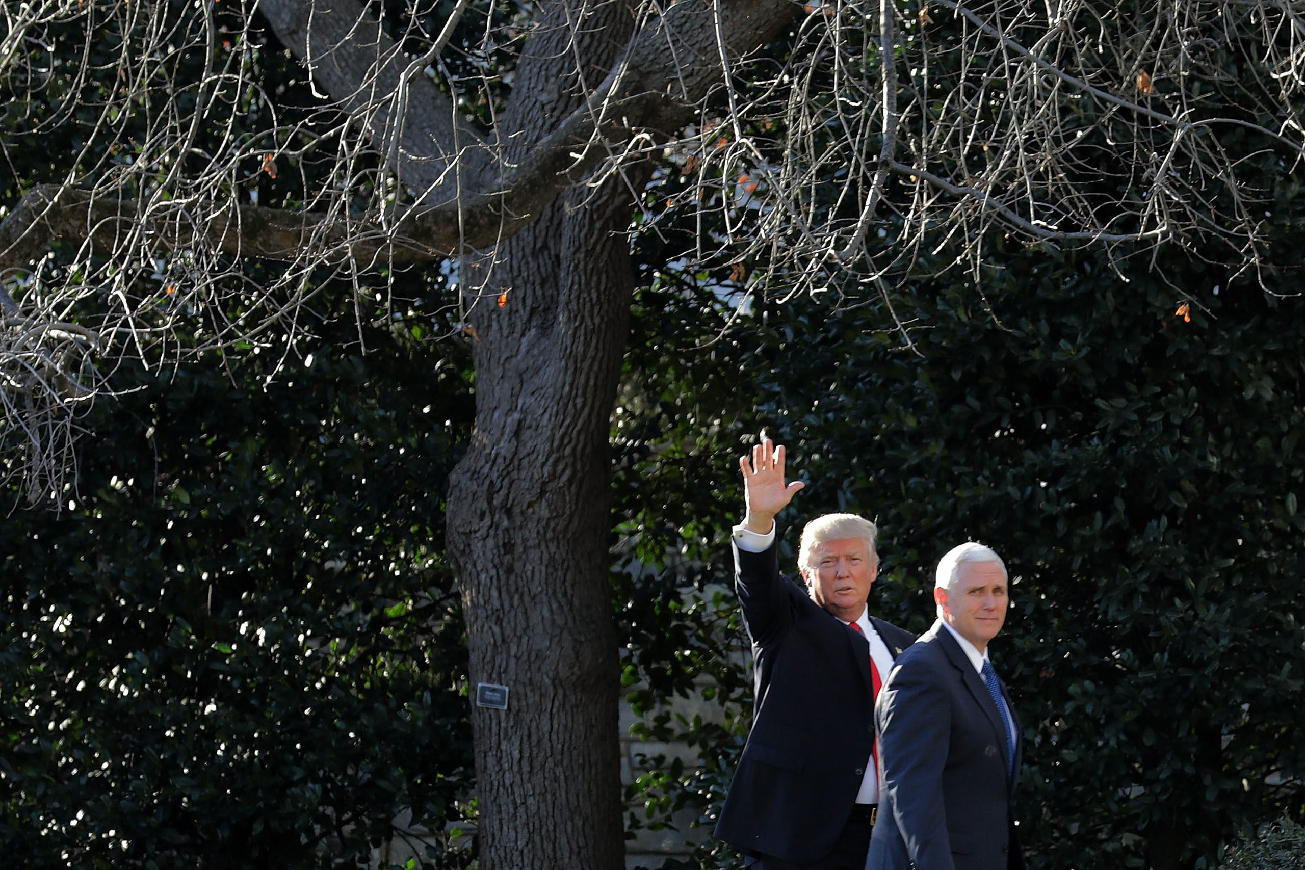 President Donald Trump and Vice President Mike Pence return to the White House after visiting the Department of Homeland Security in Washington, on Jan. 25, 2017.