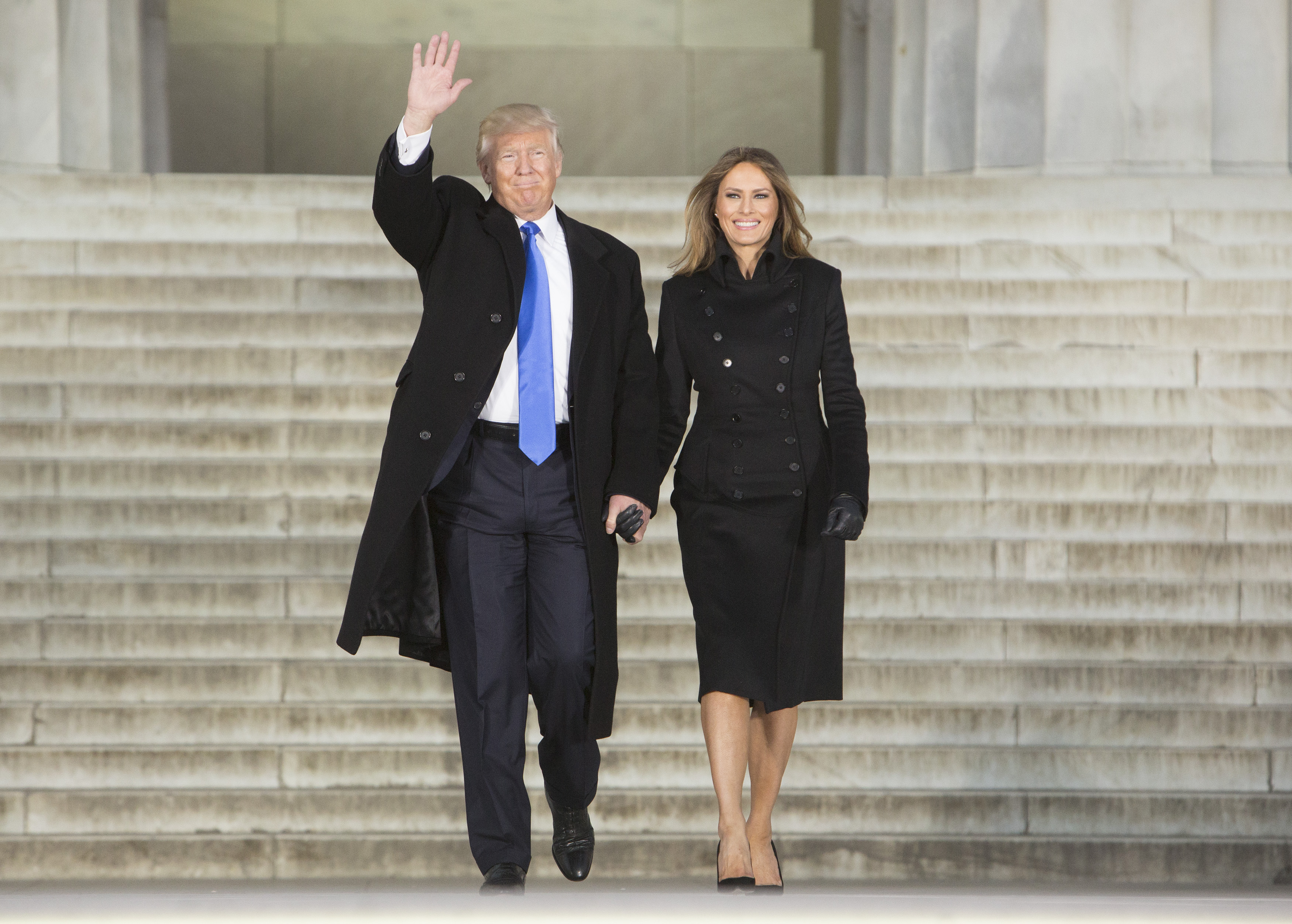 President-elect Donald Trump and his wife Melania Trump arrive at the  Make America Great Again  Welcome Celebration concert at the Lincoln Memorial in Washington, D.C., on Jan. 19, 2017.