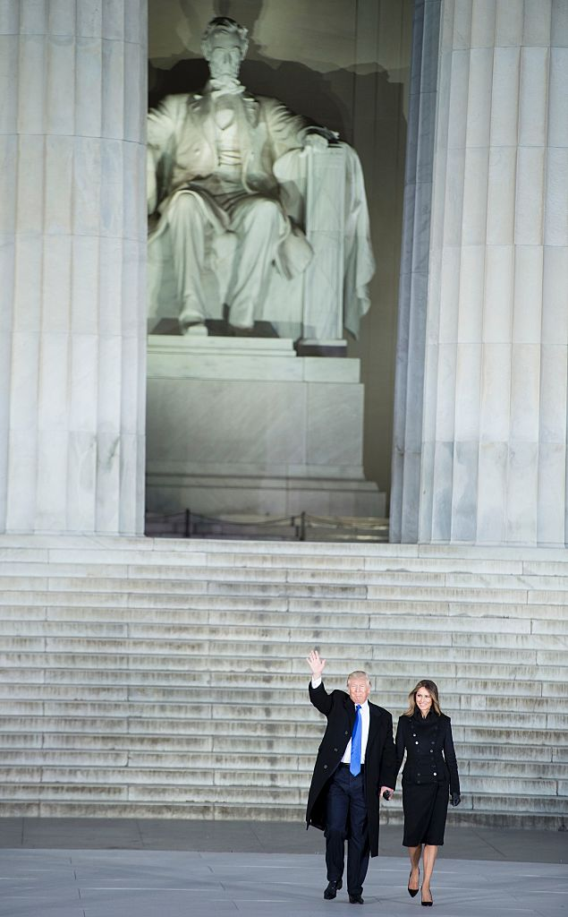 President-elect Donald Trump and his wife Melania arrive to attend an inauguration concert at the Lincoln Memorial in Washington, DC, on Jan. 19, 2017.