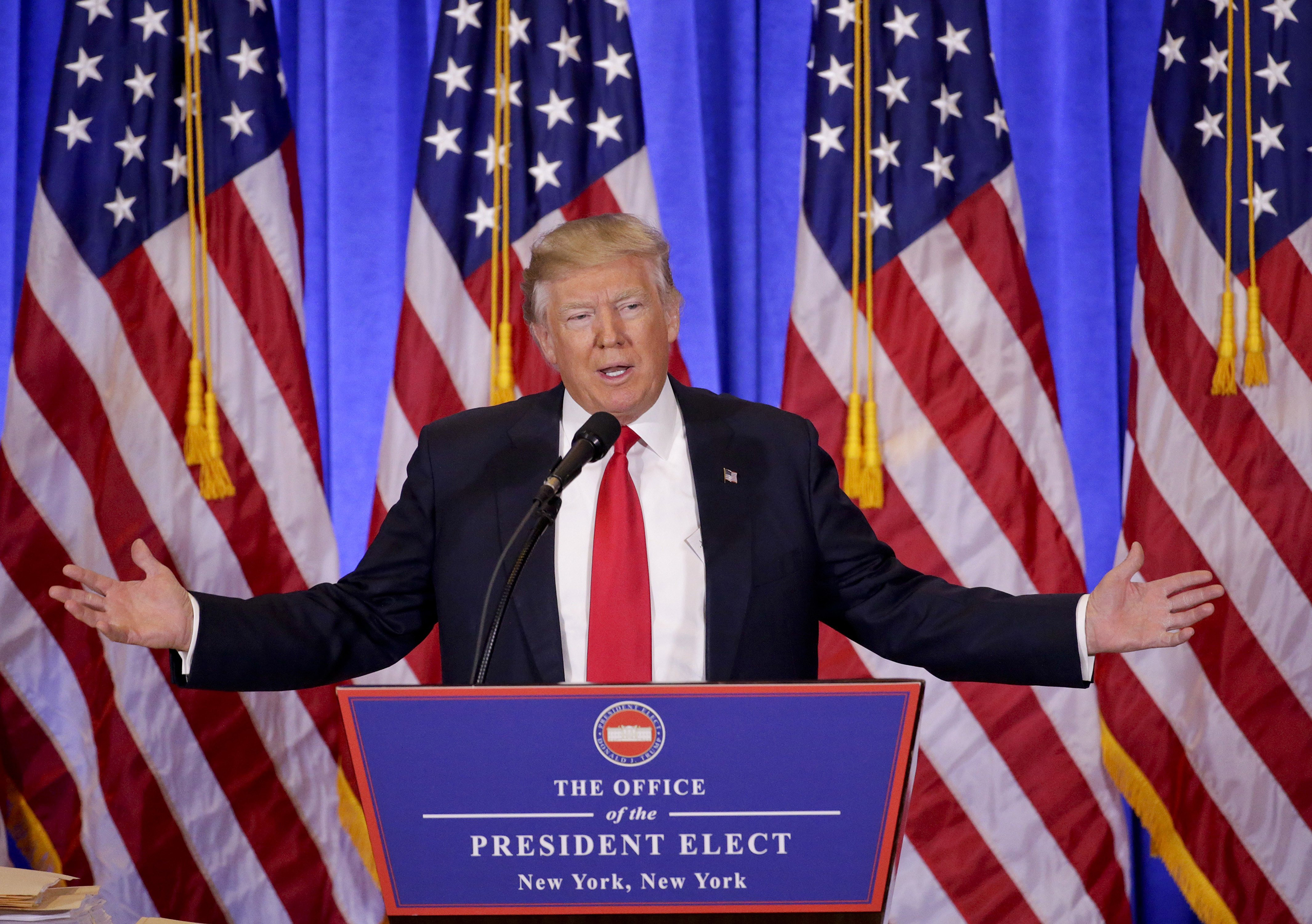 At his first news conference in months, Trump faced questions about alleged Russian ties.