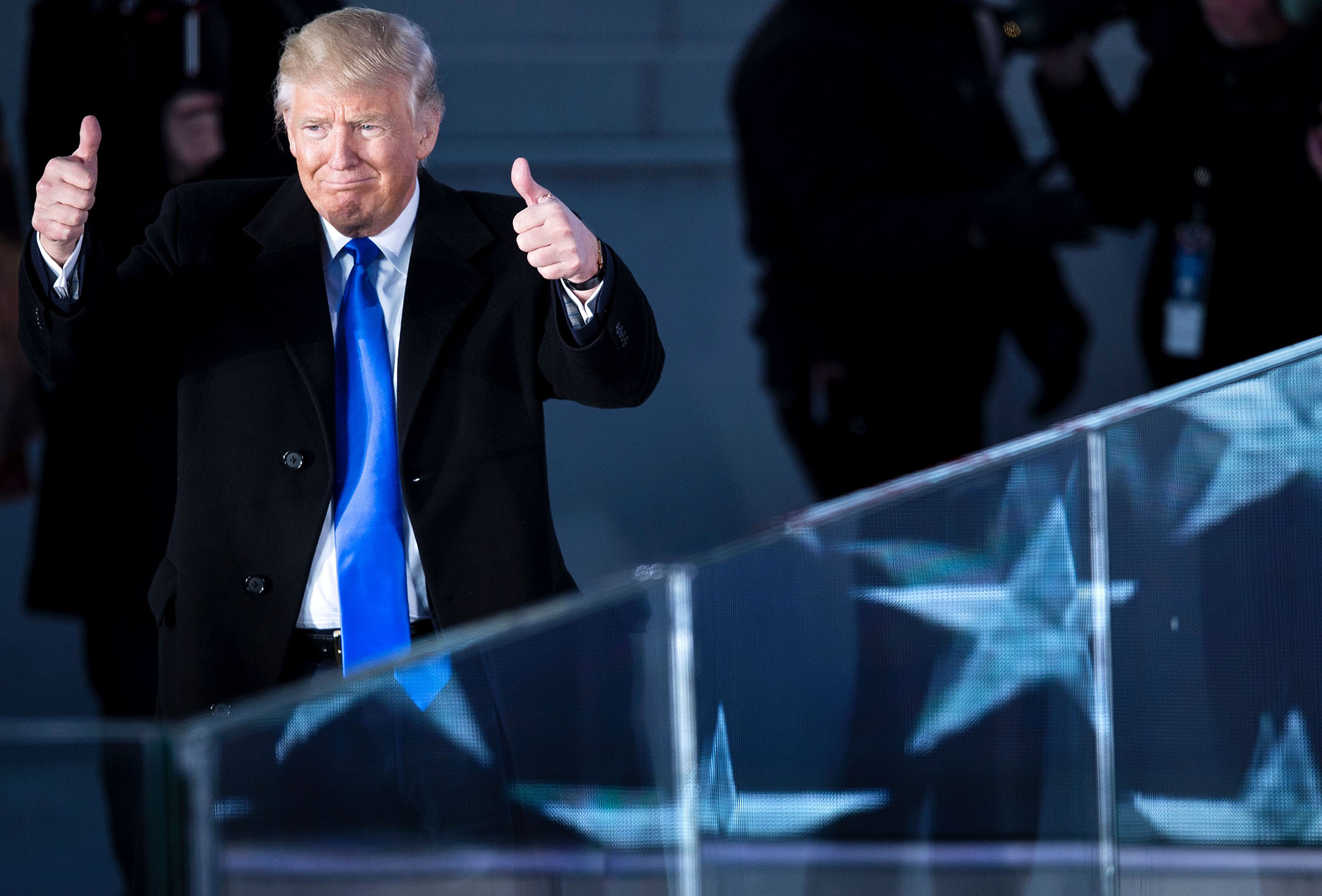 President-elect Donald Trump gestures during a welcome celebration at the Lincoln Memorial in Washington, DC, on Jan. 19, 2017.
