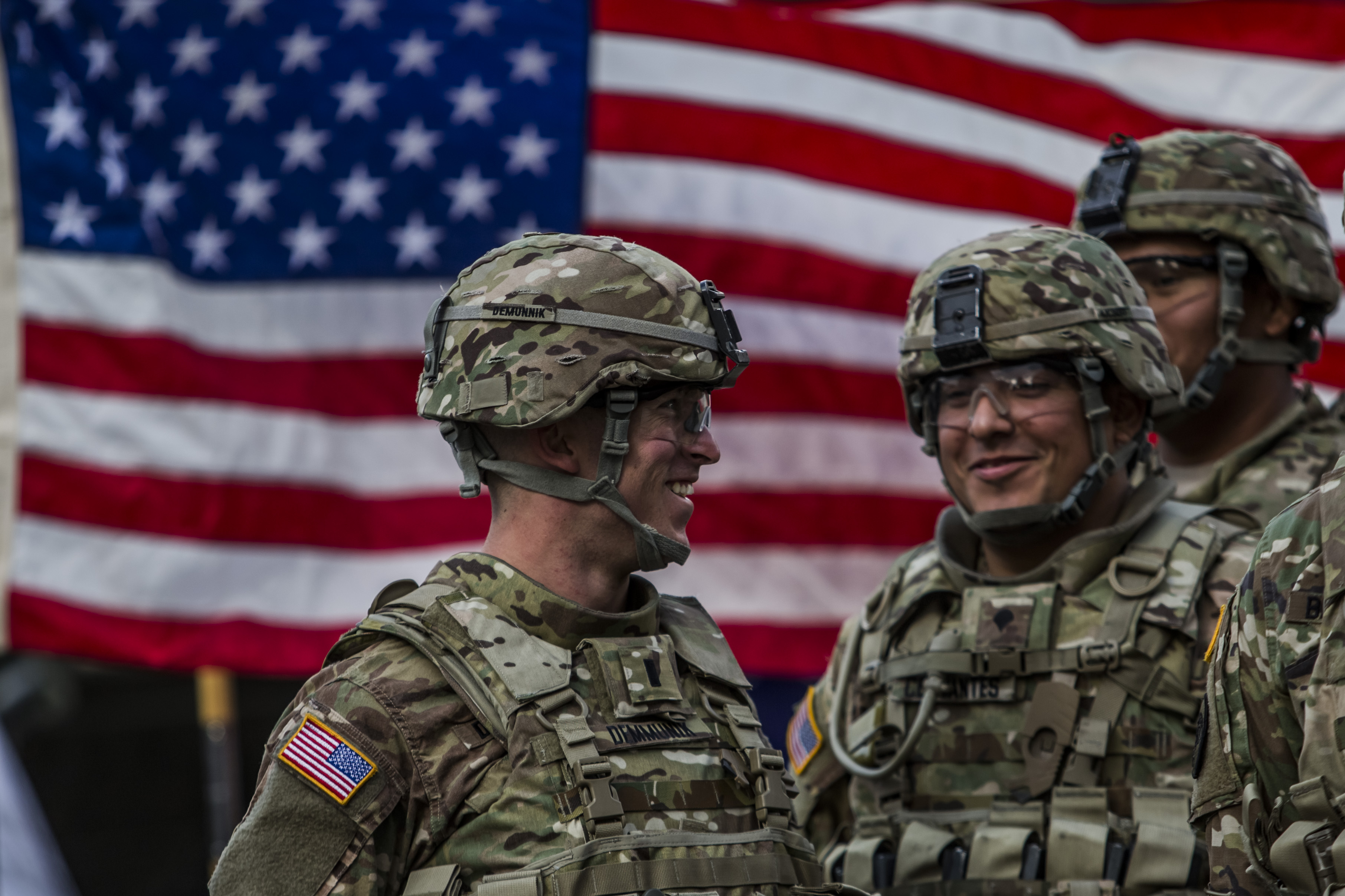 U.S. soldiers from the 2nd Cavalry Regiment  before arrival of NATO Secretary General Jens Stoltenberg at the Czech army barracks on September 9, 2015 in Prague, Czech Republic. U.S. soldiers were traveling in the 'Danube Ride' convoy from their home base in Vilseck, Bavaria, Germany to Hungary.