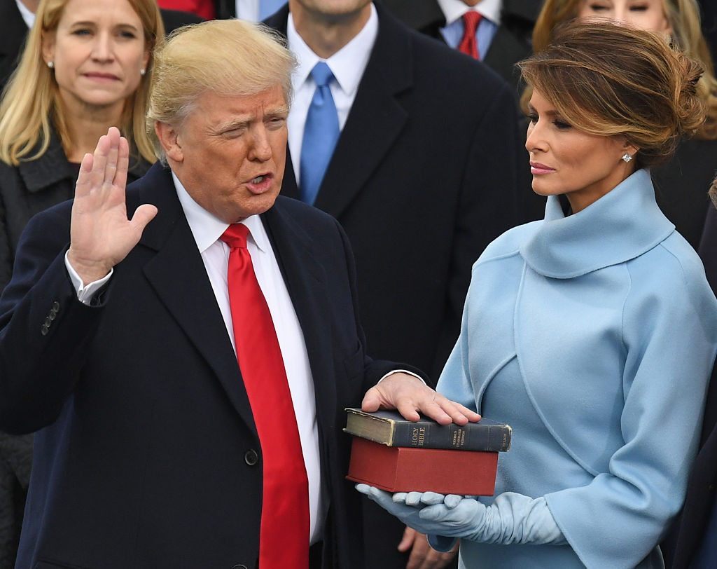Donald Trump is sworn in as president on Jan. 20, 2017 at the U.S. Capitol in Washington, DC.