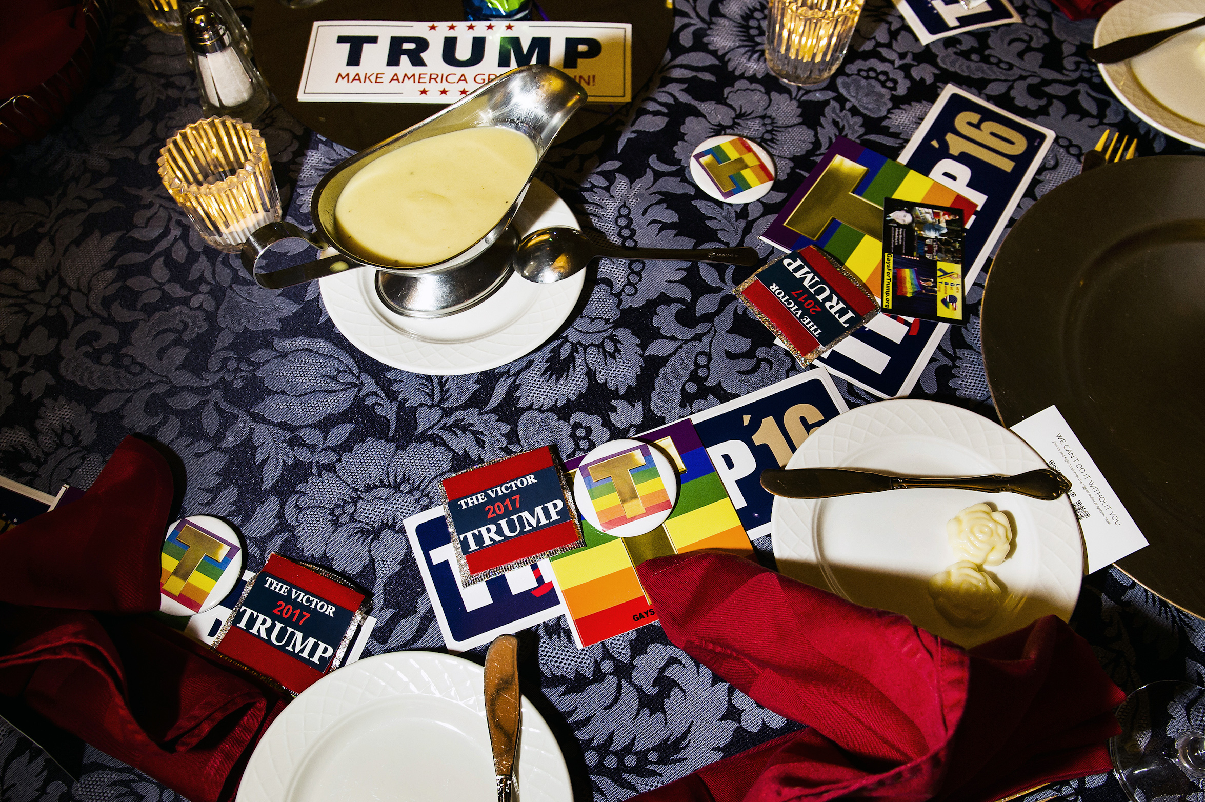 Table settings at the Gays for Trump hosted the Inaugural Deploraball at the Bolger Center in Potomac, Maryland on January 20, 2017.