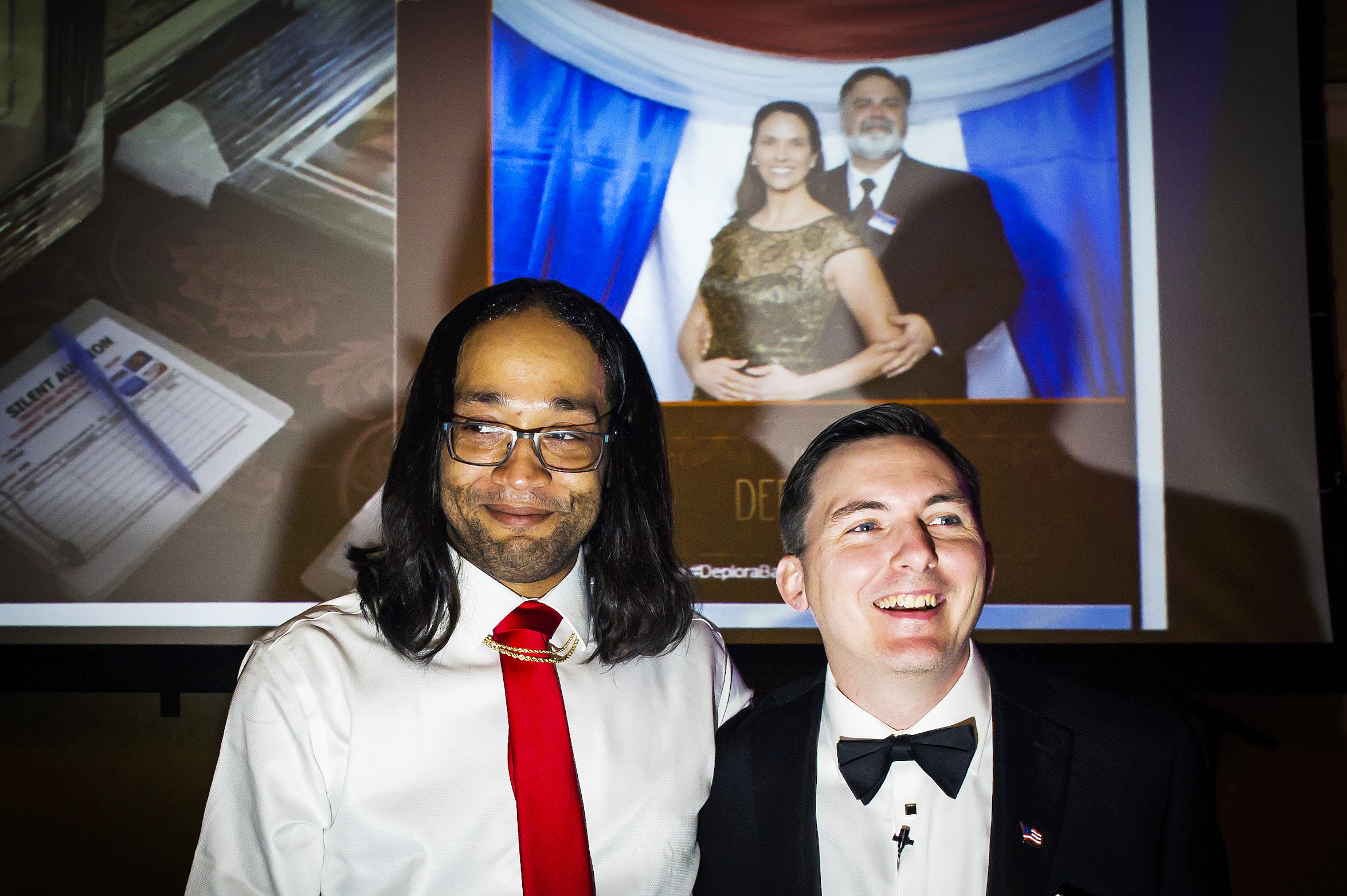 Gays for Trump President Peter Boykin (right) and his husband hosted the Inaugural Deploraball at the Bolger Center in Potomac, Maryland on January 20, 2017.