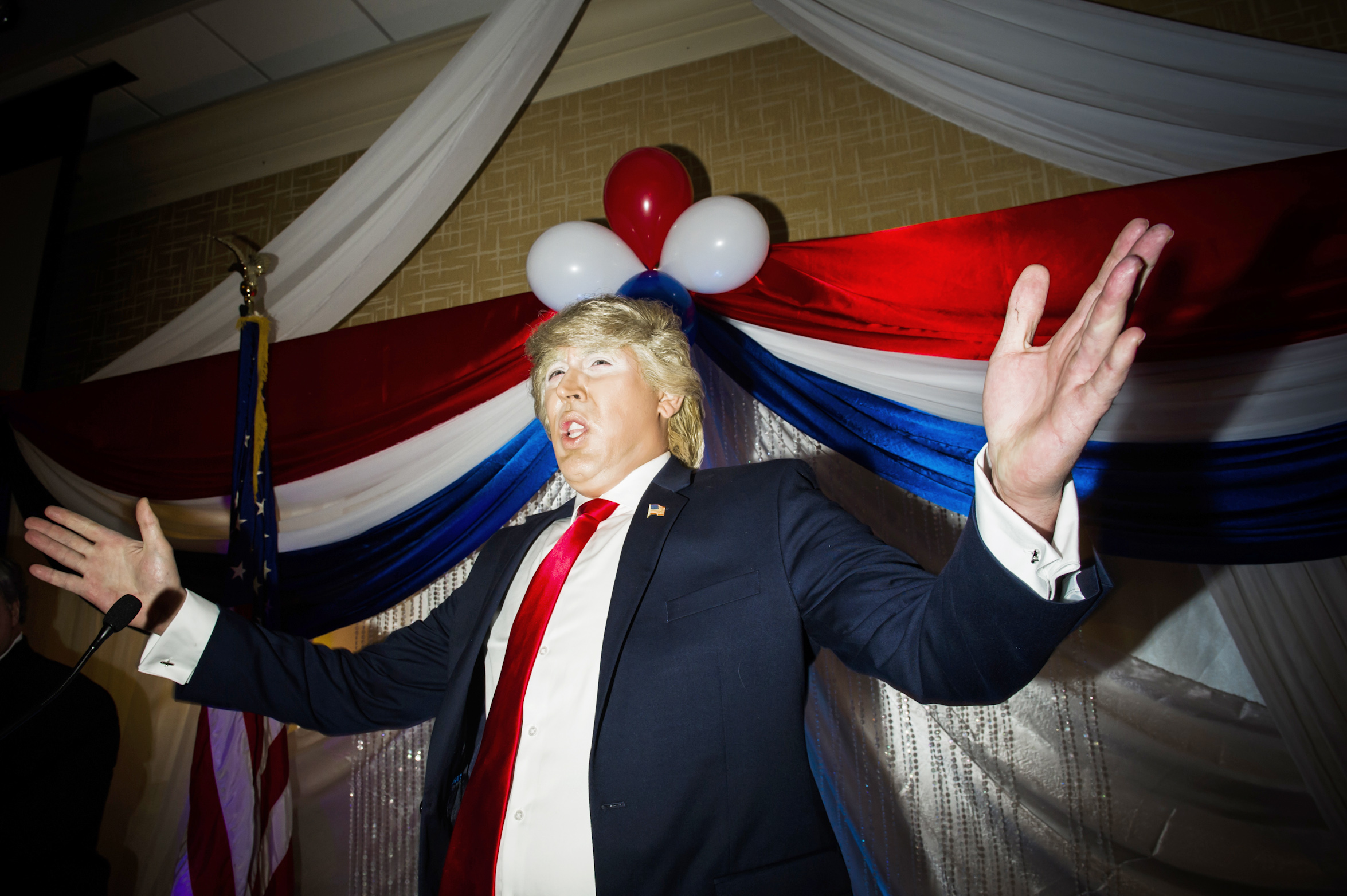 A Trump impersonator performing at the Gays for Trump  Inaugural Deploraball at the Bolger Center in Potomac, Maryland on January 20, 2017.
