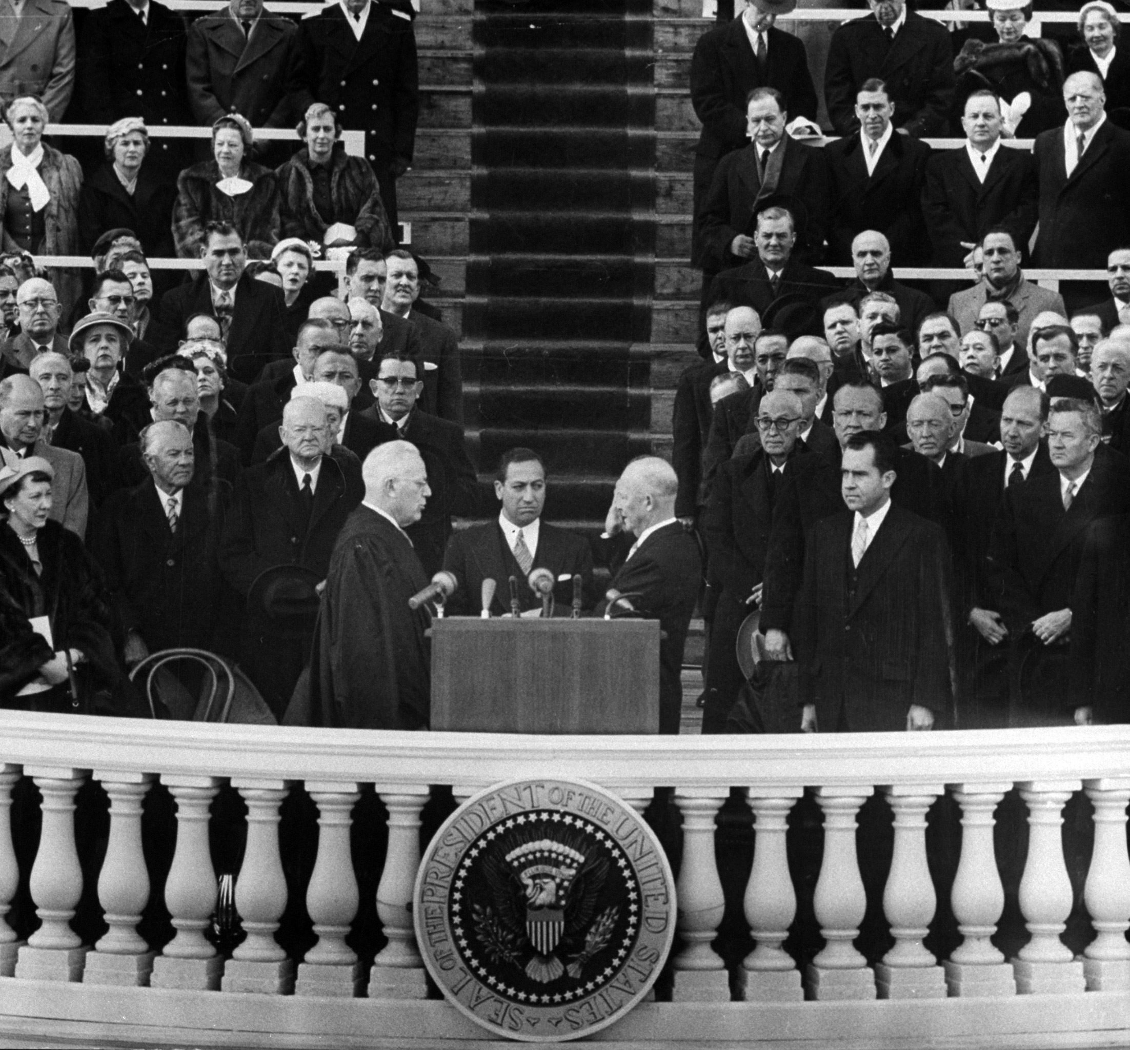 President Dwight D. Eisenhower taking the Oath of Office during Inauguration, 1957.
